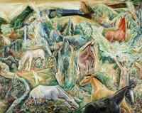 The Garden of Asses (II), Albert Bloch, oil on canvas mounted on Masonite