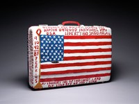 Suitcase (Cherokee Love Birds and Flag [verso]), Reverend Benjamin Franklin Perkins, acrylic on suitcase