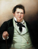 The sitter is seated and facing the viewer. He wears a white shirt, a black cravat, a buttoned sea-foam green vest, and a black jacket. A long necklace hangs over his vest, and at its end is a red and gold pendant. His right hand graps a wood and metal cane. The background varies between shades of brown, white, and black.