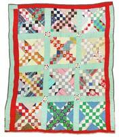 Star block variation quilt.