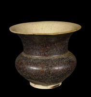 """Vase with flaring mouth, thick Temmoku-style glaze, """"hare's fur"""" glaze on exterior."""