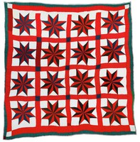 Red and blue stars quilt.