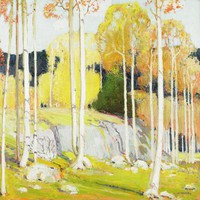 This painting represents stand of narrow-shafted trees, scattered throughout the foreground and shown receding off to the right of the middle ground. A stream is also shown in the middle ground, running over a rocky outcropping. The background represents additional trees in green and yellow, and possibly a mountain ridge extending above the treetops. The main colors of the painting are yellow, orange, and green.