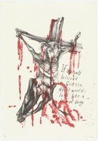 """Two-color lithograph featuring an emaciated cow in the midst of crucifixion. The cow and cross are printed in black ink. Blood spattering, appearing to come from the cow, was applied over the central image using red ink. To the right of the animal, the following text reads:""""If animals believed in god, the devil would look like a human being."""""""