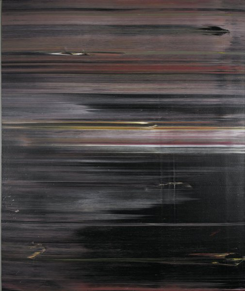 A large vertical painting on canvas, primarily black, with irregular lines of various colors (violet, crimson, gray) that run horizontally across its surface. A band of approximately 1-½ inches runs top-to-bottom along the left vertical edge of the canvas, revealing a gray painted ground beneath the aforementioned surface. The painting is unframed.