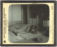 A Japanese Room and Bed on the Floor, Keystone View Company, Underwood & Underwood Publishers, glass