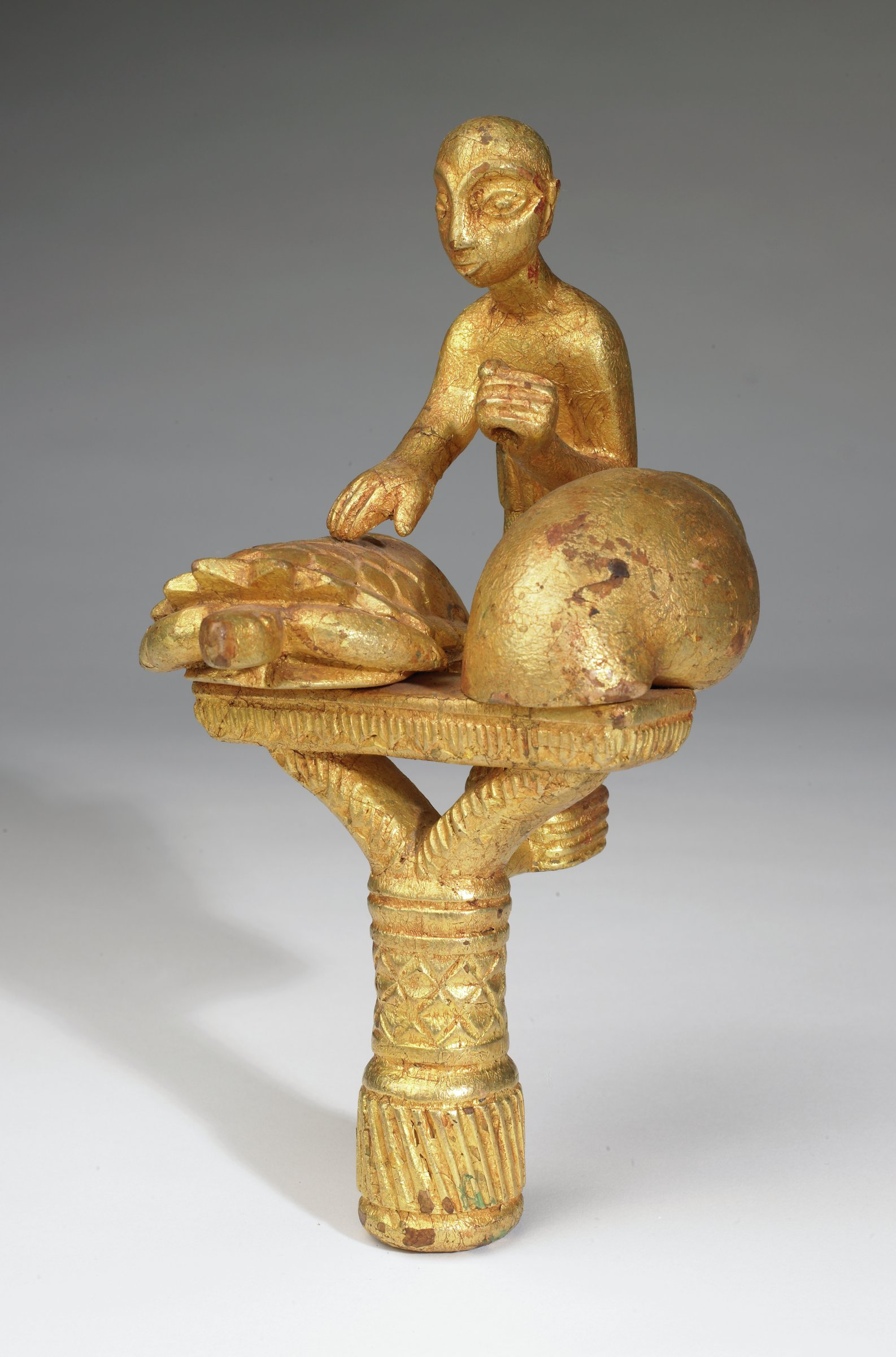 Linguist Staff Finial (okyeame poma), Akan group, Asante people, Ghana, African, wood and gold leaf