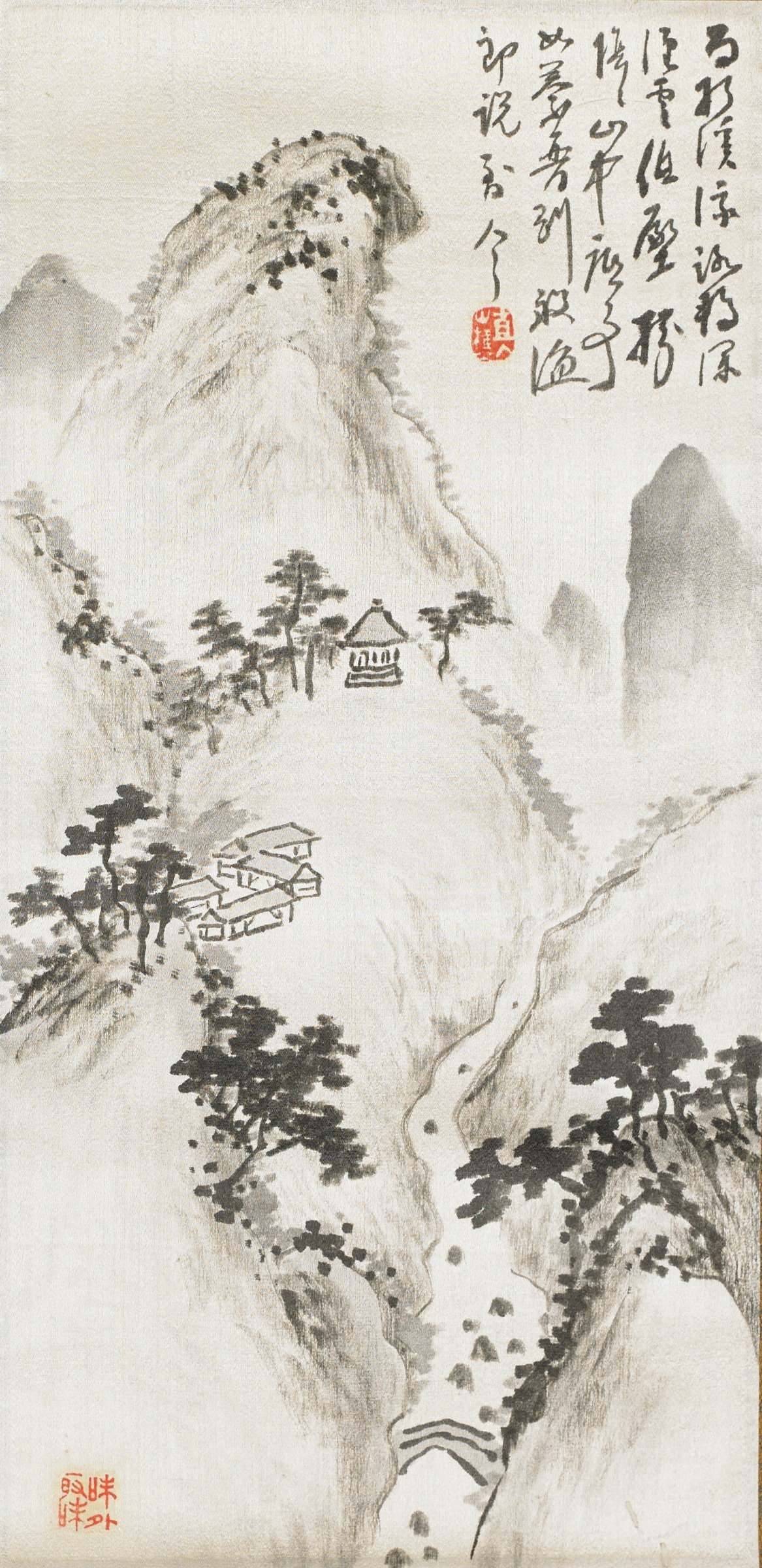 Landscape, Chokunyu Tanomura, ink on paper