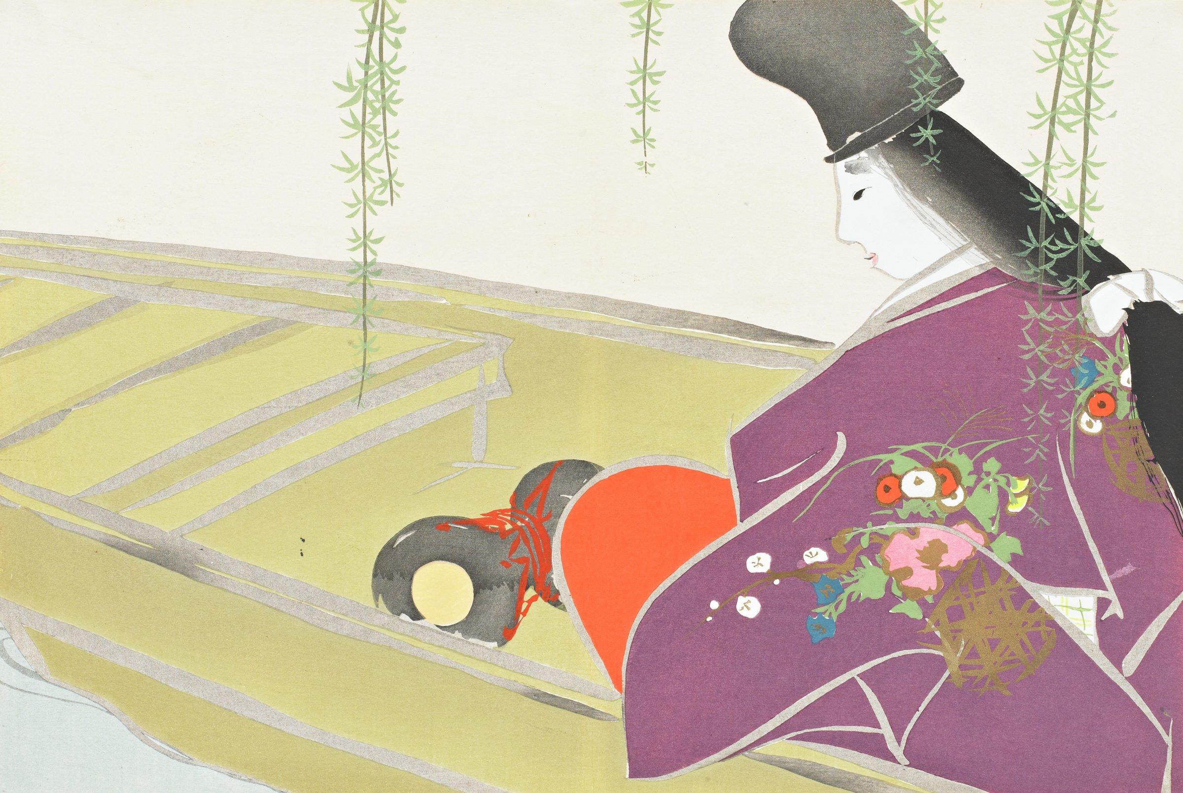 Asazuma-bune (Asazuma on Lake Biwa), from Momoyogusa (A World of Things), Volume 2, Kamisaka Sekka, ink and color on paper