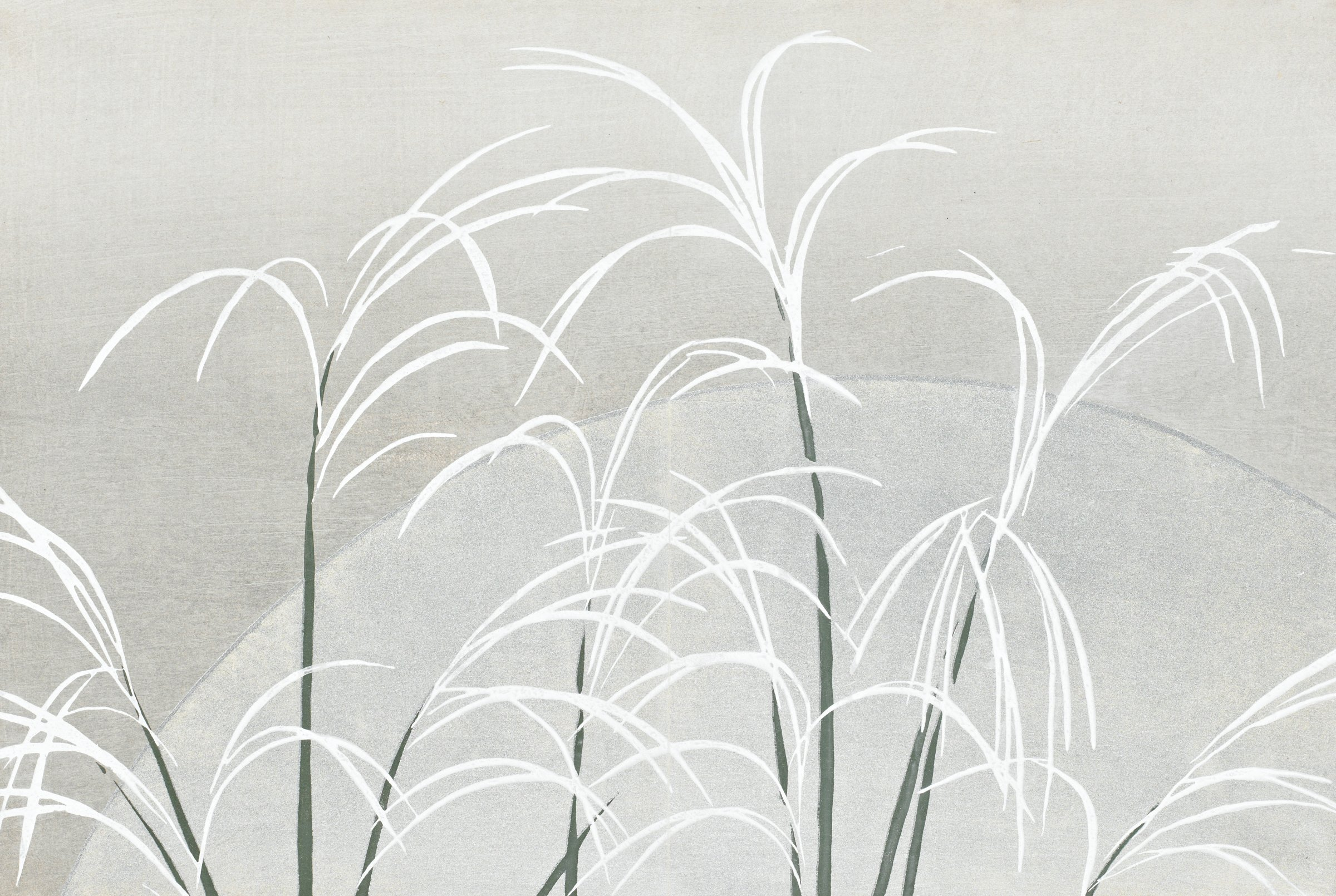 Obana ni Tsuki (Susuki Grasses and the Autumn Moon), from Momoyogusa (A World of Things), Volume 2, Kamisaka Sekka, ink and color on paper