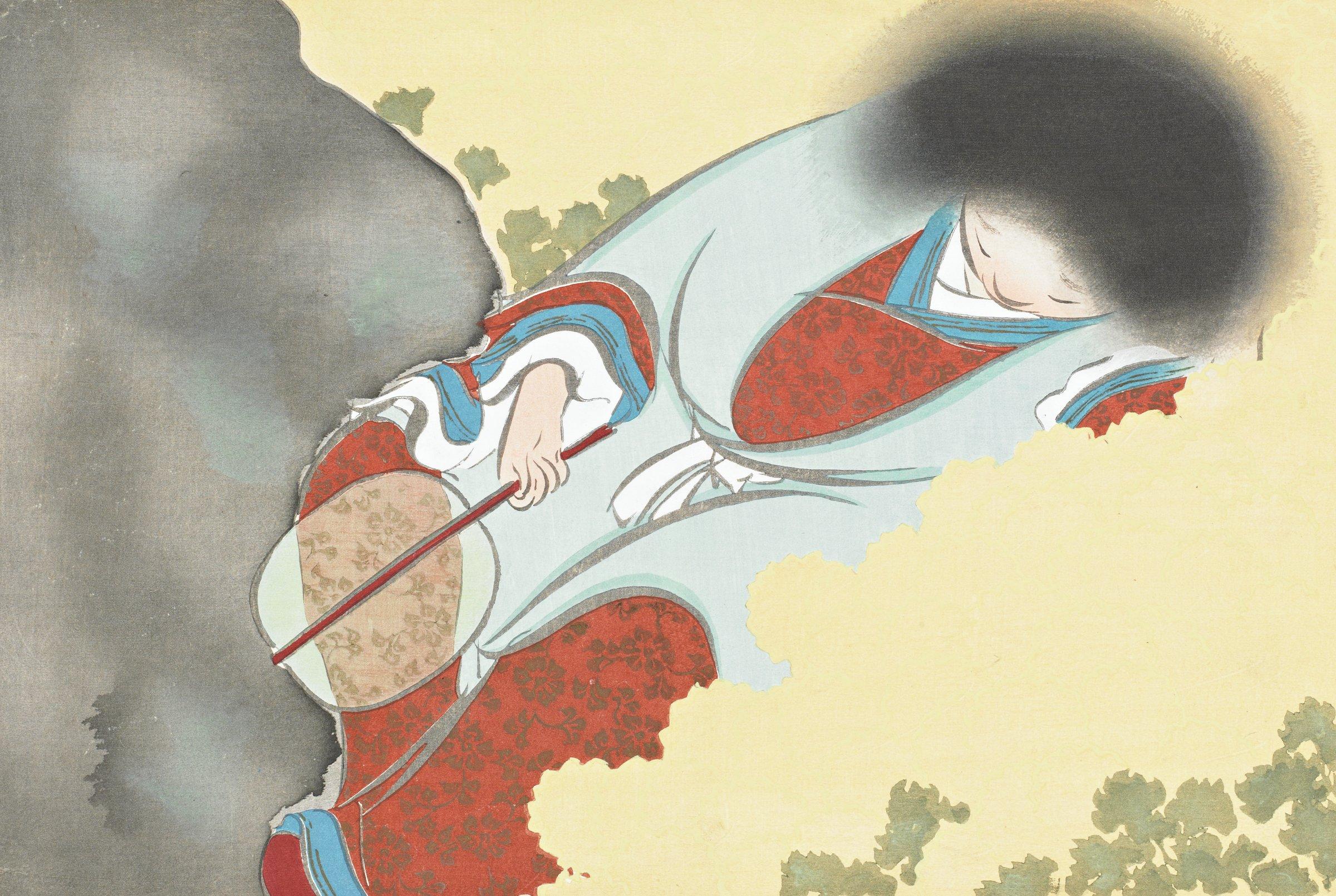 Kikujido (A Noh Play), from Momoyogusa (A World of Things), Volume 2, Kamisaka Sekka, ink and color on paper