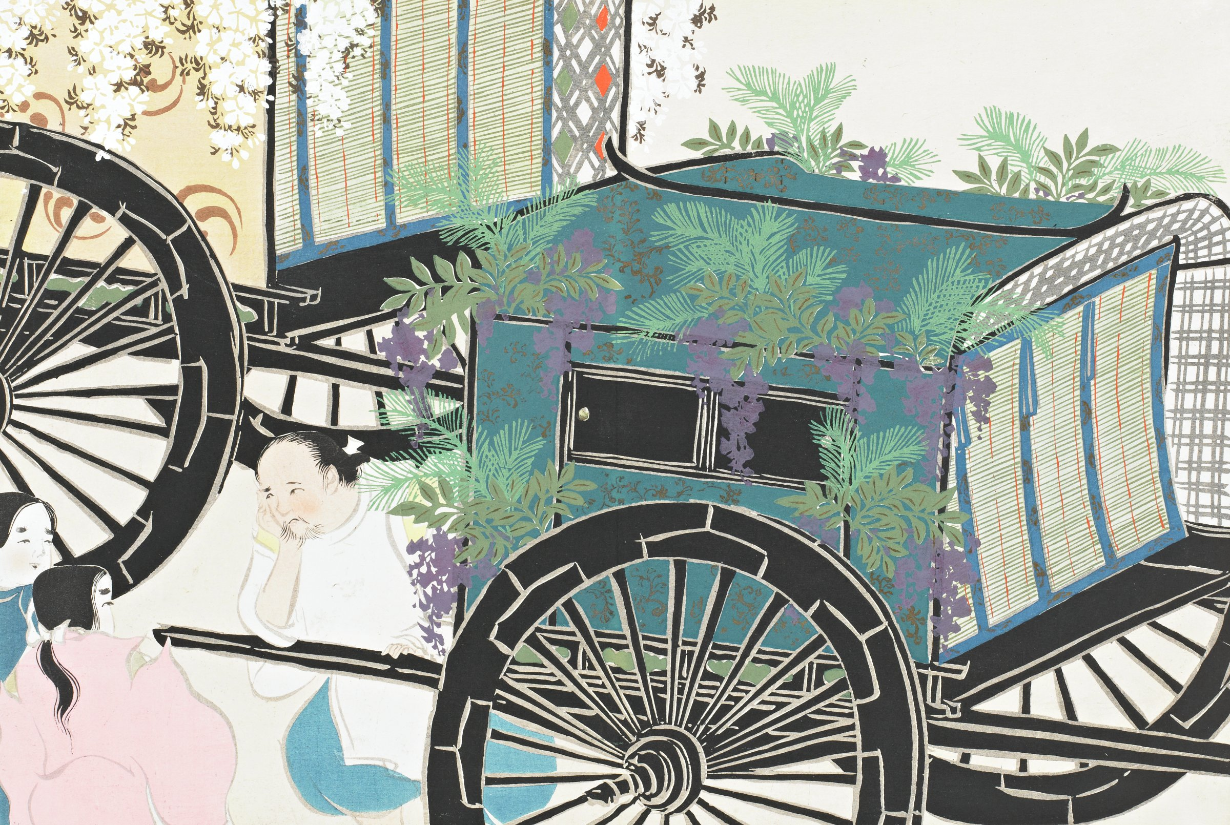 Hanasaku-guruma (Carriages Decorated with Flowers), from Momoyogusa (A World of Things), Volume 2, Kamisaka Sekka, ink and color on paper