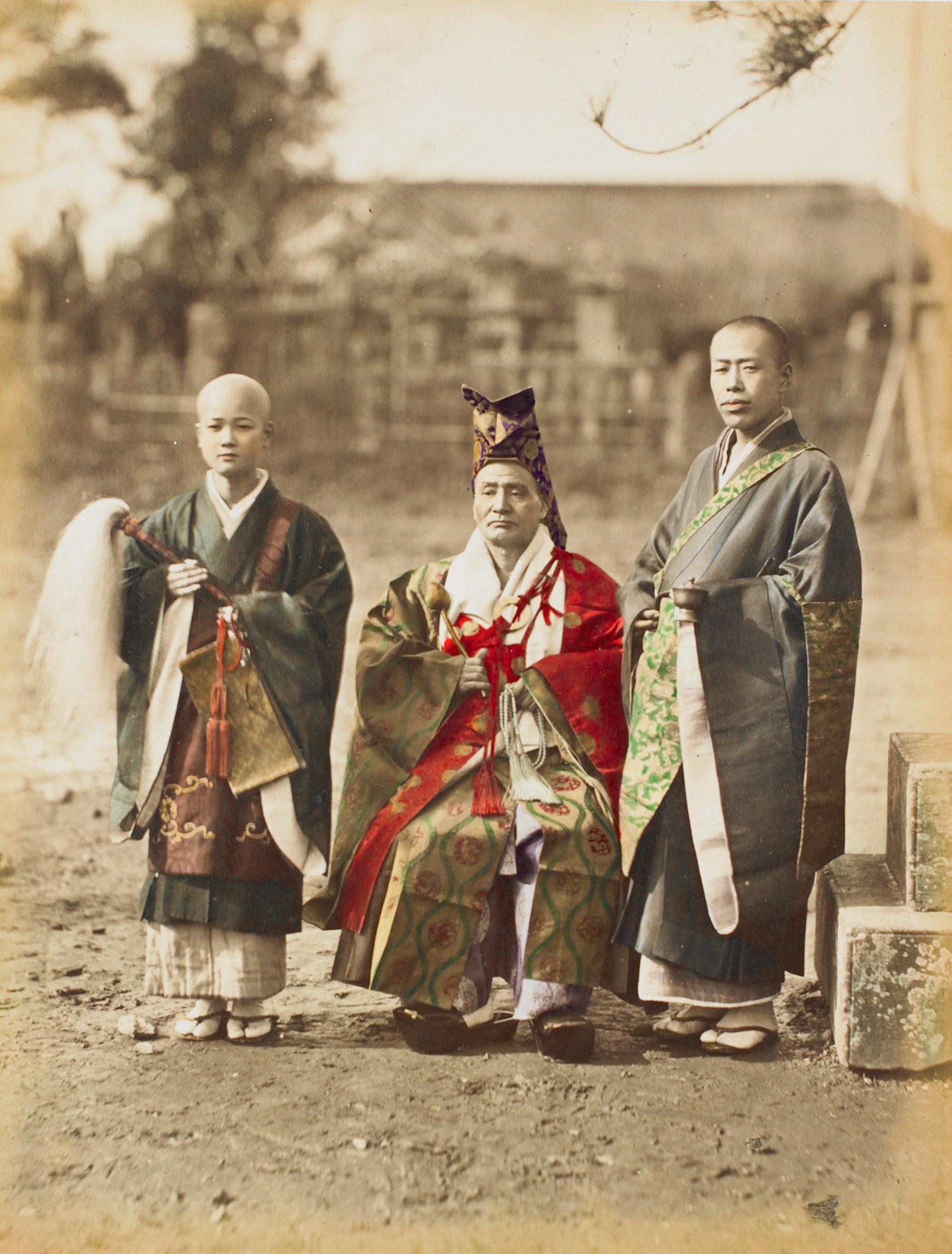 Buddha Priests (recto); Sanjinko Nikko (verso), Attributed to Kusakabe Kimbei, hand-colored albumen prints