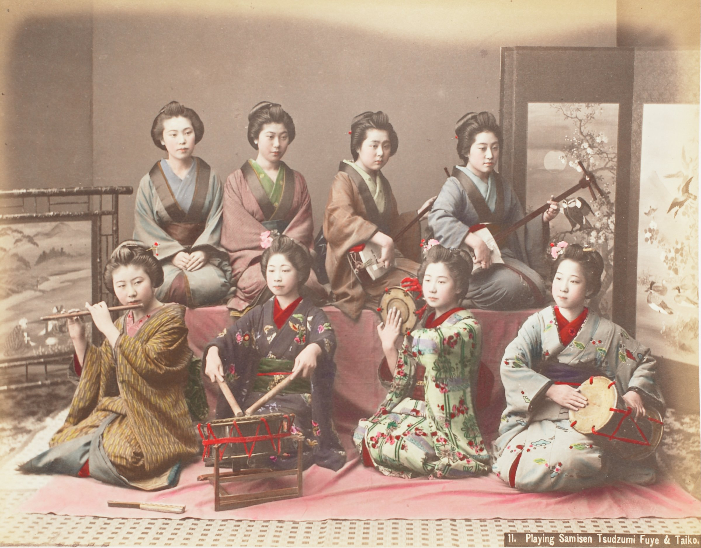 Weaving Silk (.12, recto); Playing Samisen Tsudzumi (.13, verso), Attributed to Kusakabe Kimbei, hand-colored albumen prints mounted to album page
