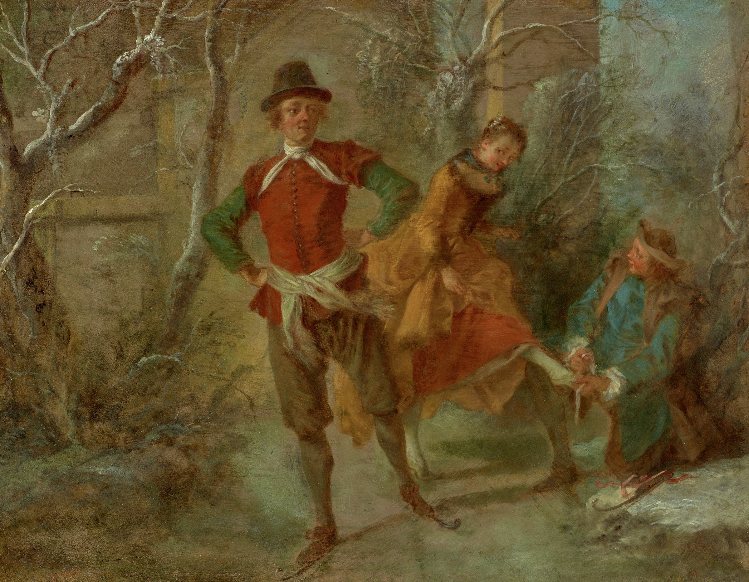 Allegory of Winter, Nicolas Lancret, oil on copper