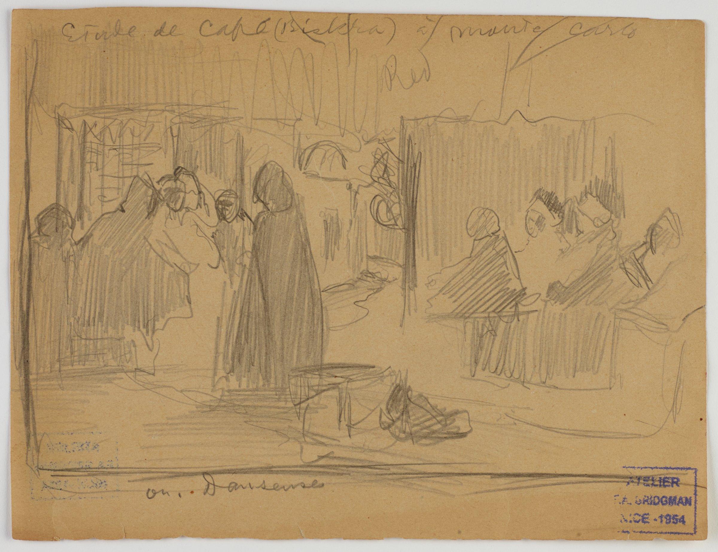 Étude de Café (Biskra) à Monte Carlo, Frederic Arthur Bridgman, graphite on paper