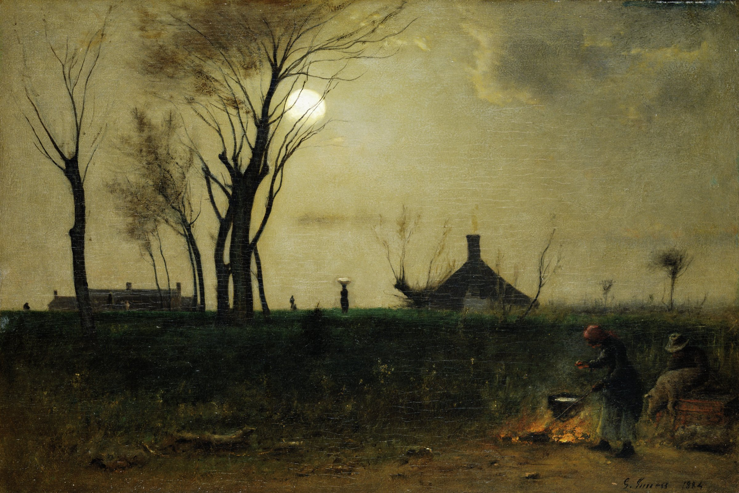 In the right foreground, in a bare space that may be near a stream, a woman tends a fire that heats a kettle, while a man holds a pig for scalding. A few logs lie in the left foreground. The grassy slope of the deep foreground rises to a level ridge in the middle ground, where tall, nearly leafless trees rise as silhouettes against the sky, on the left. Just beyond the top of the slope on the left is the upper part of a large building with several chimneys. An outbuilding is closer on the right. Near the top of the slope, left of center, a woman walks with a basket on her head. There may be another, more distant figure at the far left. The moon is high in the center of a sky with few clouds.