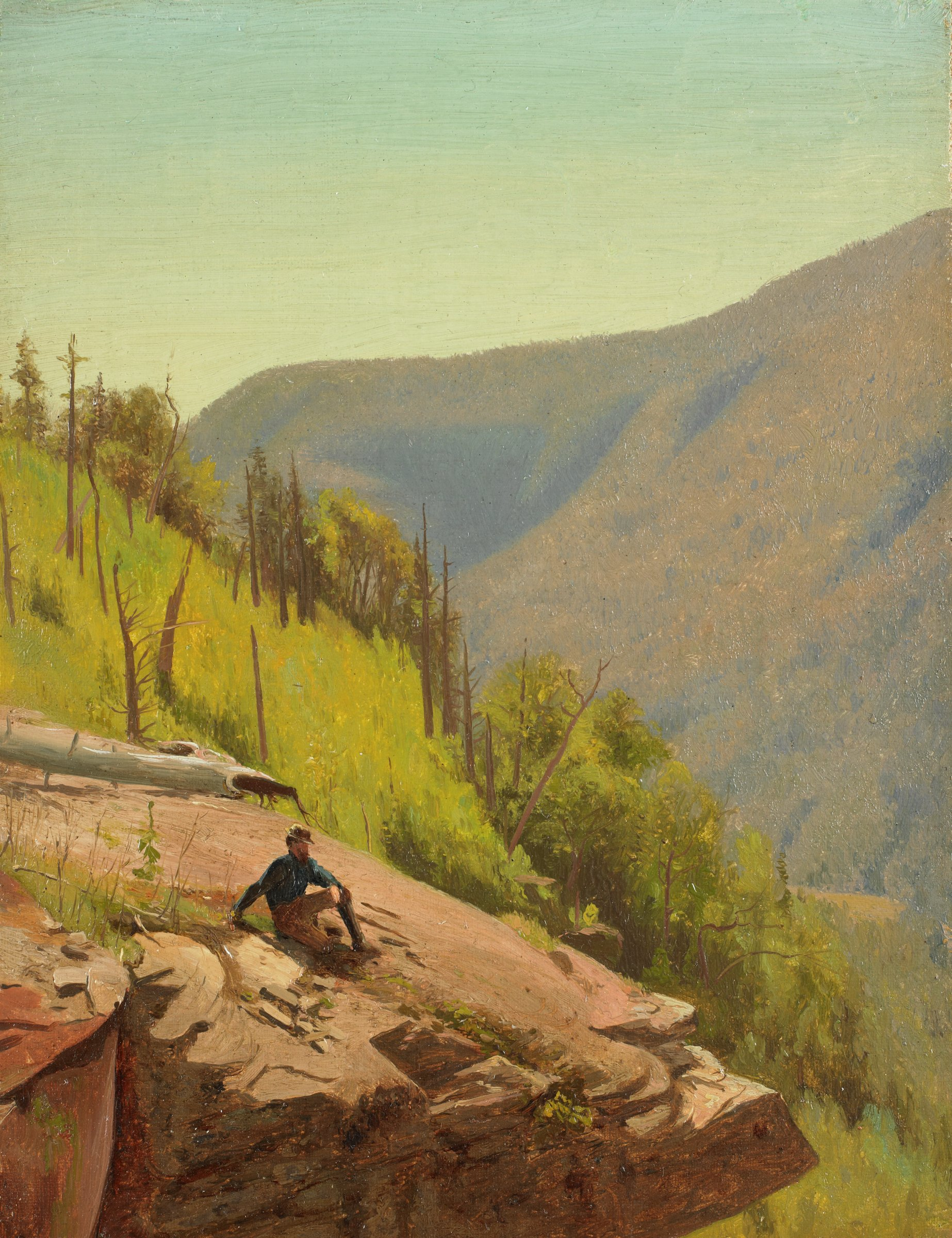 A recumbent bearded man wearing a cap, blue shirt, and tan trousers and boots rests upon a rocky outcrop, peering to the right at the surrounding wooded landscape.