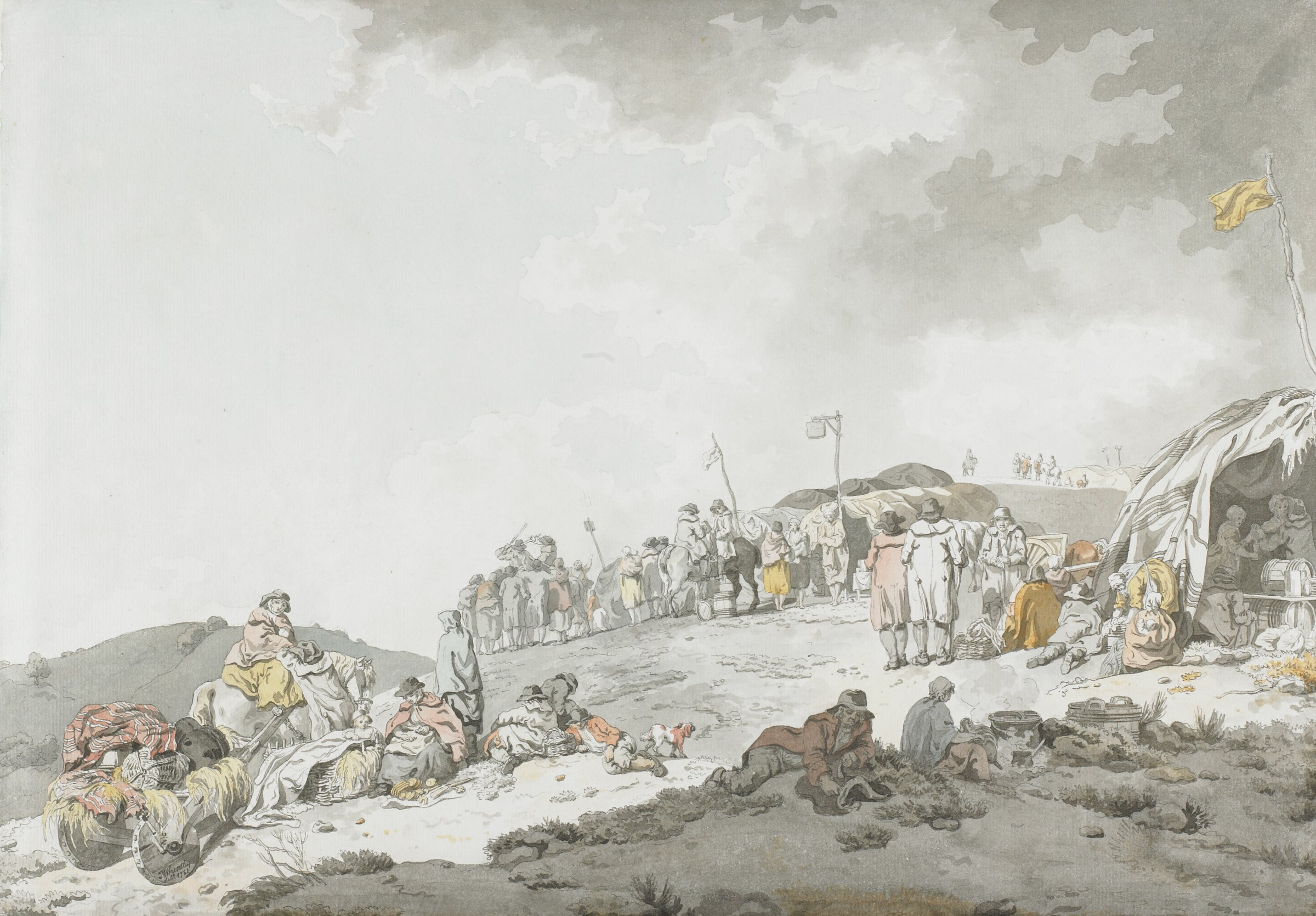 A bare landscape with hillocks is populated with horses and clusters of people in traveling clothes. Several tents with flags dot the landscape. Pale washes of color pick out clothes worn by the travelers; the image is otherwise dominated by gray washes and a low, pale skyline.
