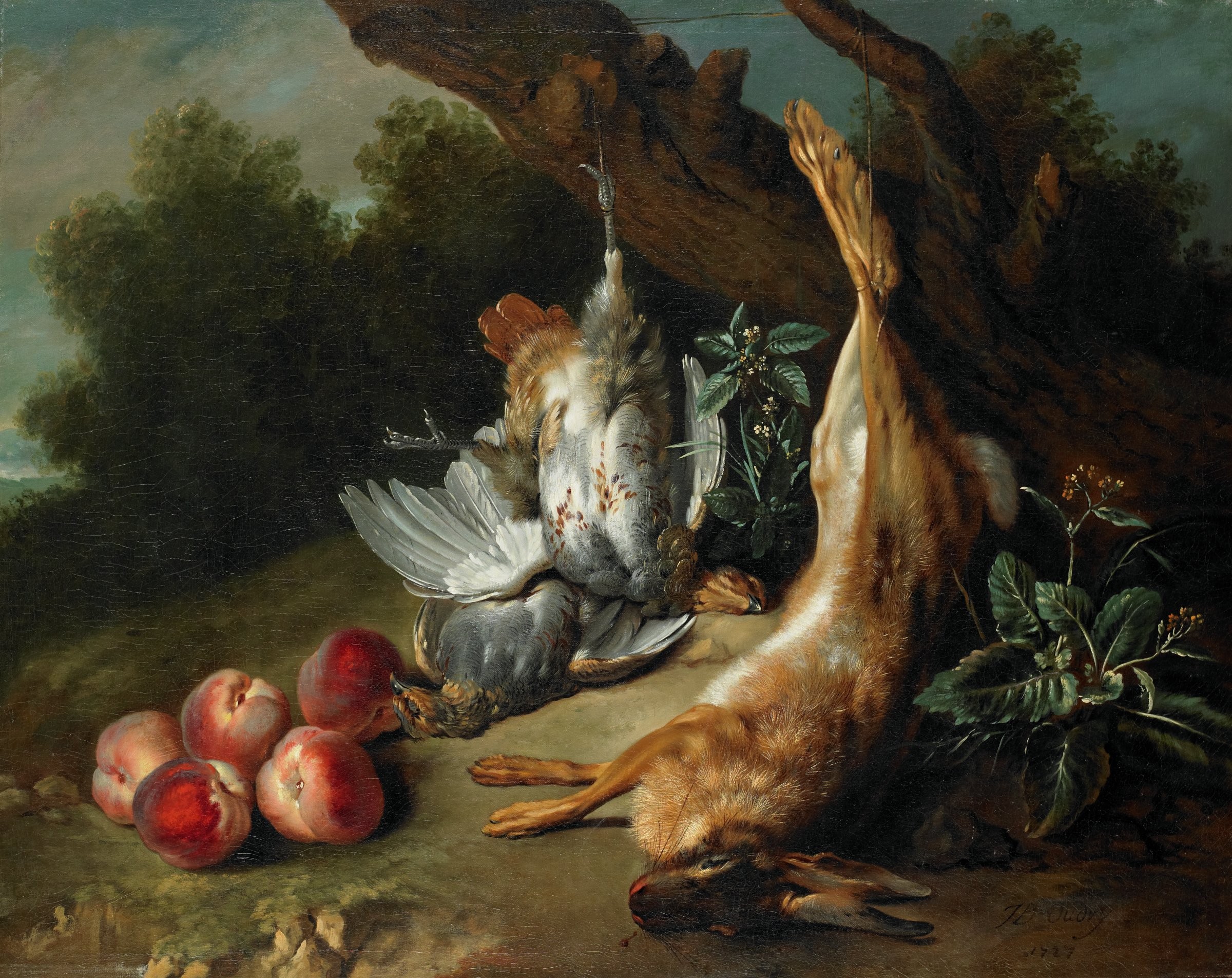 In a landscape setting, in the center of the composition a dead hare and partridge lay on the ground, suspended by their feet from the low limbs of a tree. A second dead partridge lies beneath the first. Five ripe peaches rest on the ground in the lower left corner.