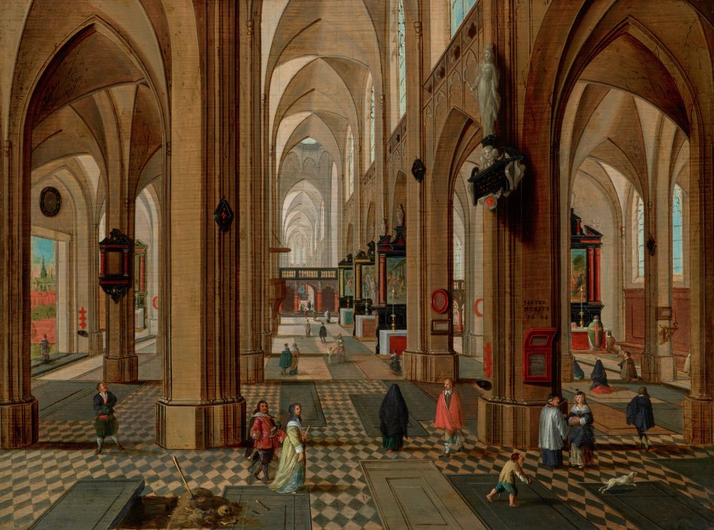 Interior of Antwerp Cathedral, Pieter Neeffs the Younger, oil on panel