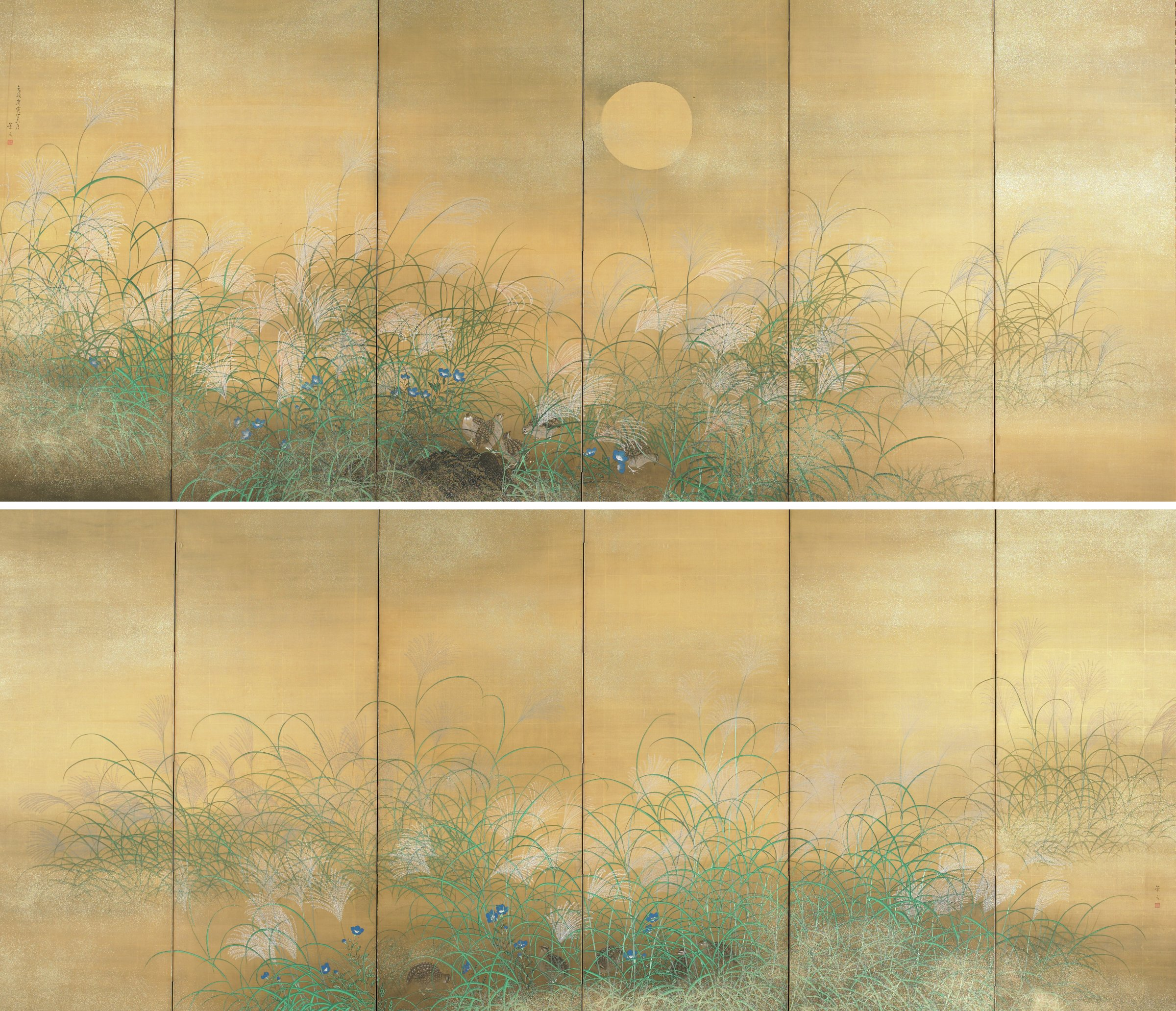 Pair of six-panel folding screens showing birds feeding at early dawn. Style of calligraphy indicates this was an imperial commission.