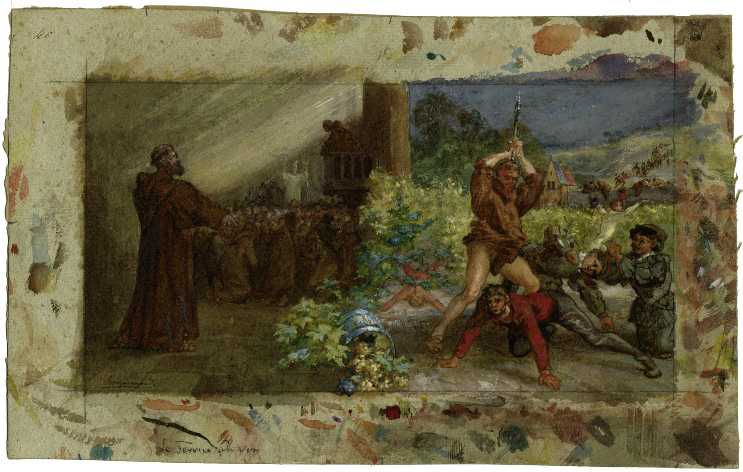 In the middle of the composition a barrel of grapes spills toward the viewer. In the right foreground a brown-robed monk raises a weapon topped with a cross, preparing to strike a male on the ground in front of him. Others have already been struck, and more figures flee into the right background. To the left of the image monks gather to listen to a white-robed bishop holding a crozier. Outside the framing lines of the image, the artist tested colors and brushstrokes in all four margins.