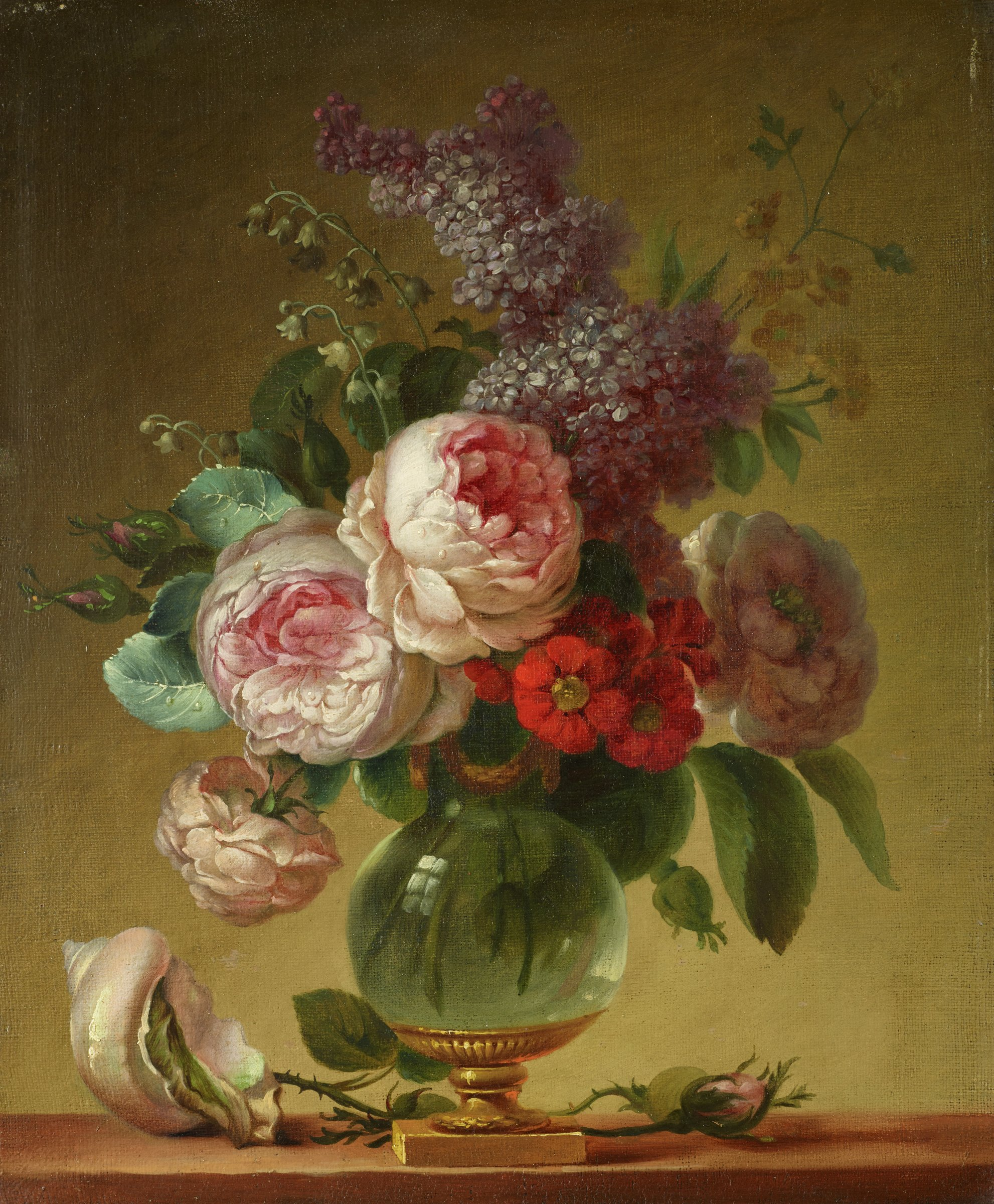 Still life with a bouquet of roses, carnations, hollyhocks, lilacs and other flowers in a glass vase with a pink conch shell on the parapet beside it, in contemporary carved and gilded wood frame.