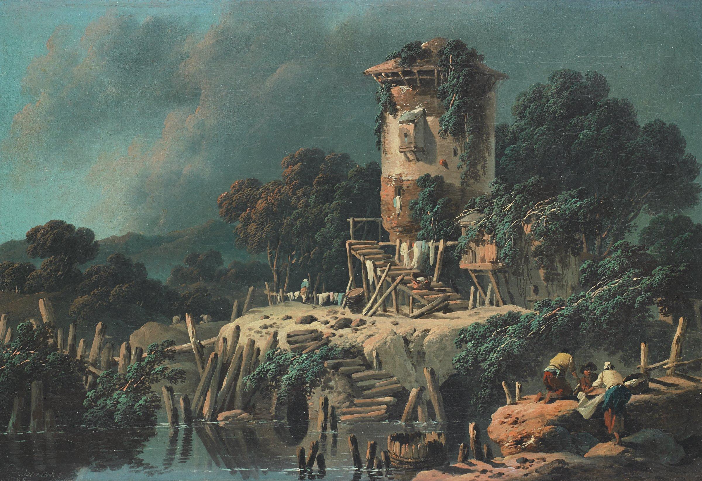 La Vielle Tour (Pastoral Landscape), Jean Baptiste Pillement, oil on canvas