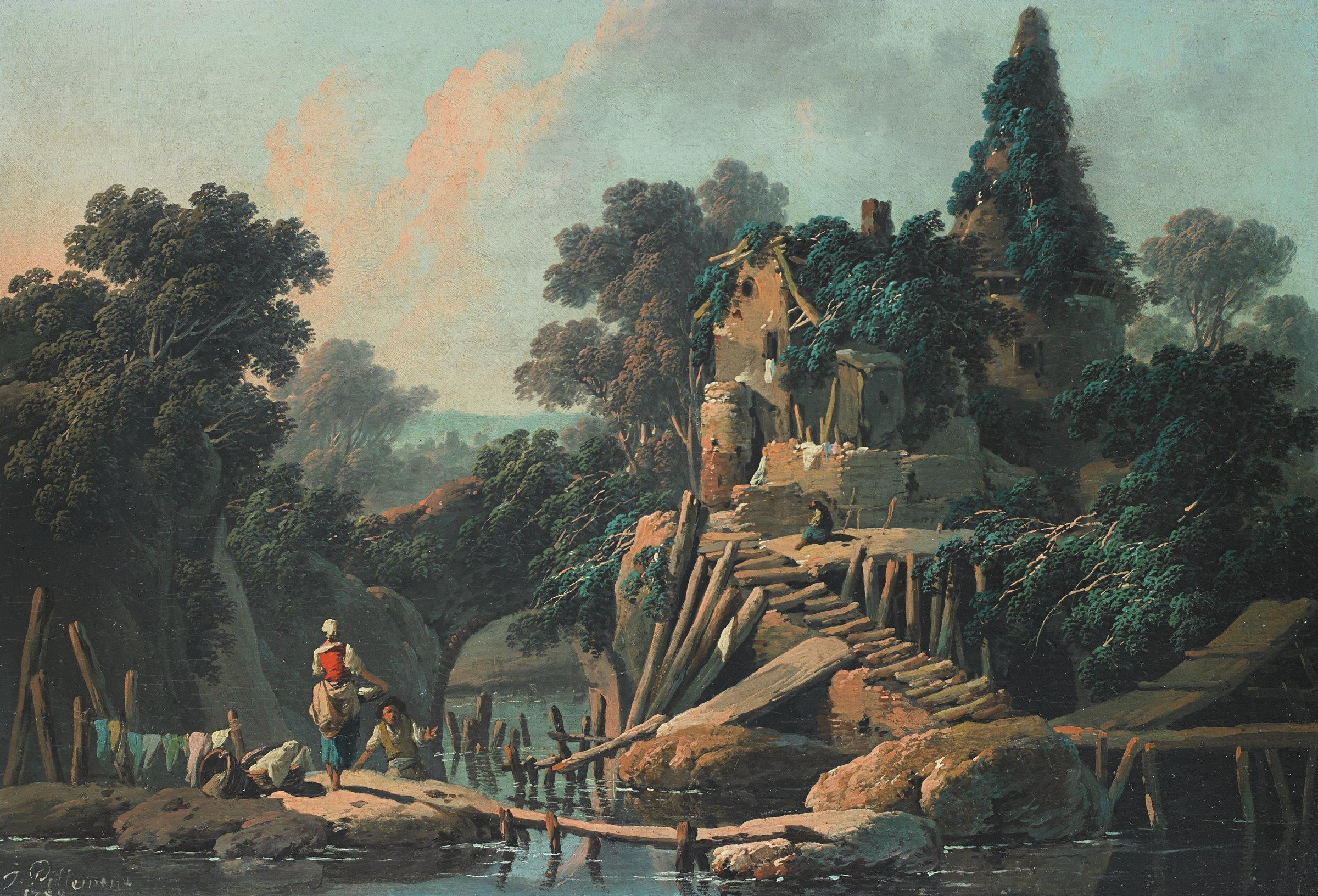 La Vielle Ferme (Pastoral Landscape), Jean Baptiste Pillement, oil on canvas