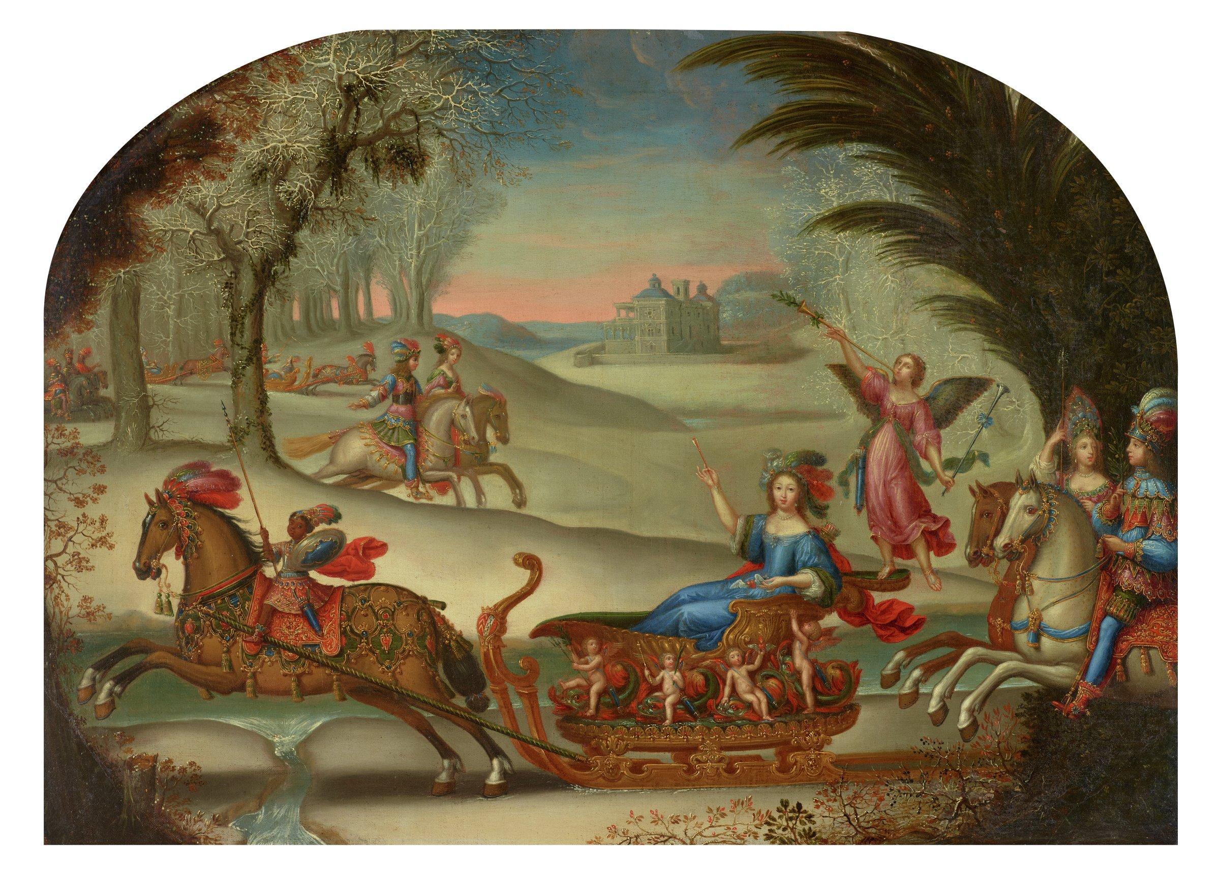 Wedding Sleigh Ride of Marie de Bailleul, Claude Deruet, oil on canvas
