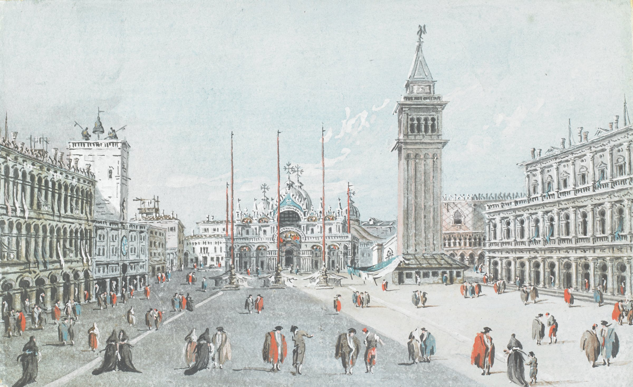 Scene of the Piazza San Marco in Venice filled with figures engaged in various activities. A basilica and clock tower are visible at the opposite end of the square.