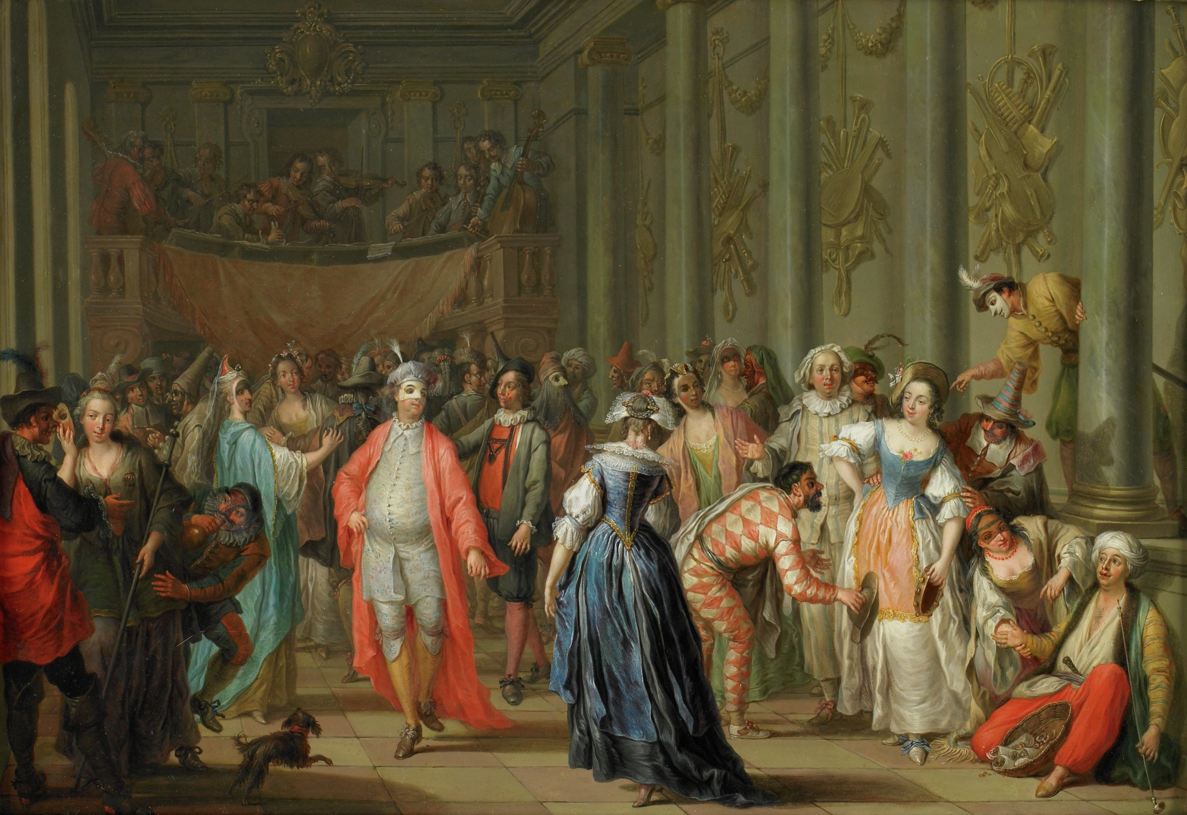 Masquerade Ball (Masked Ball at Venice), Franz Christoph Janneck, oil on copper