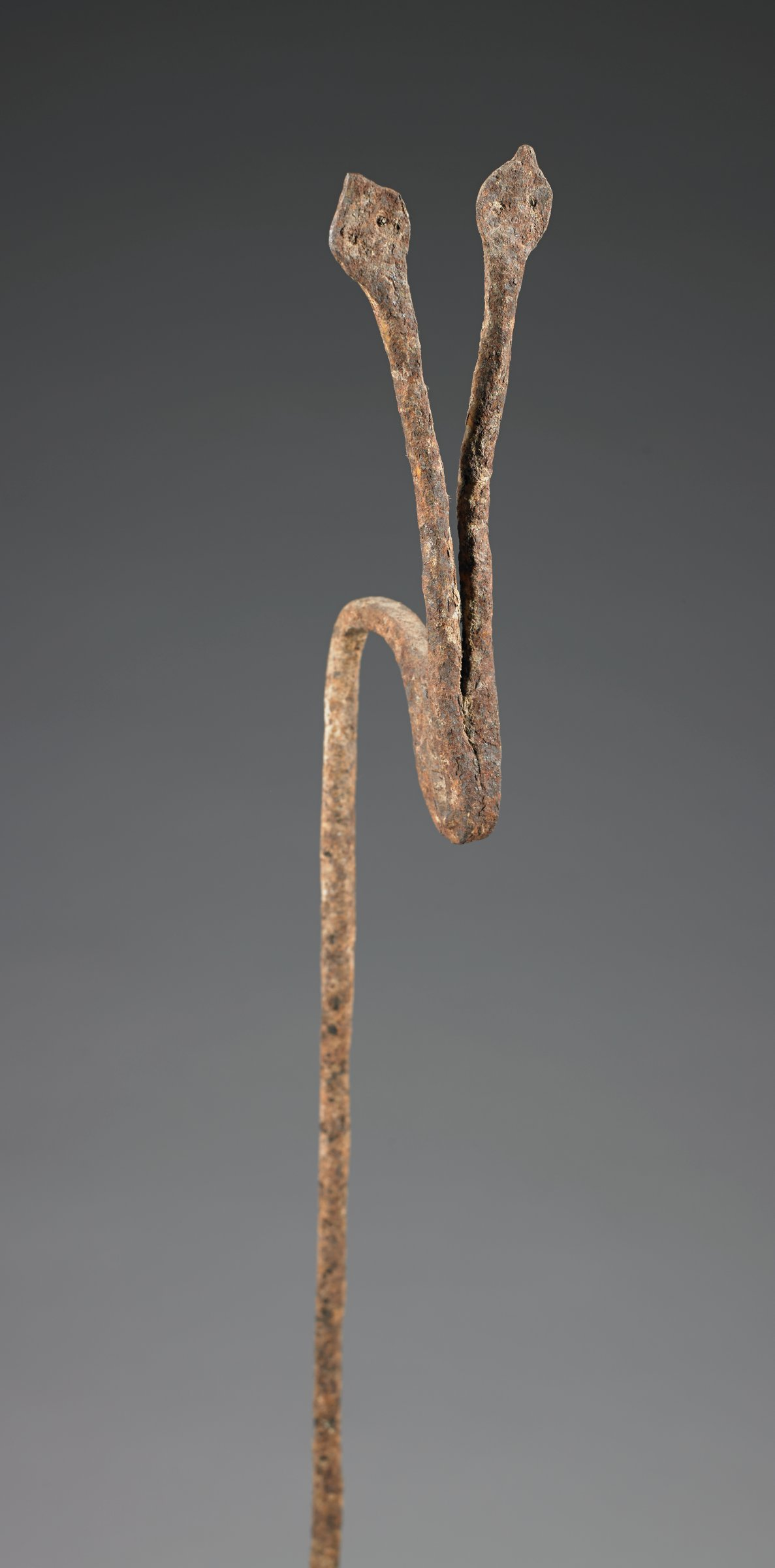 Staff with v-shaped finial in form of two snakes