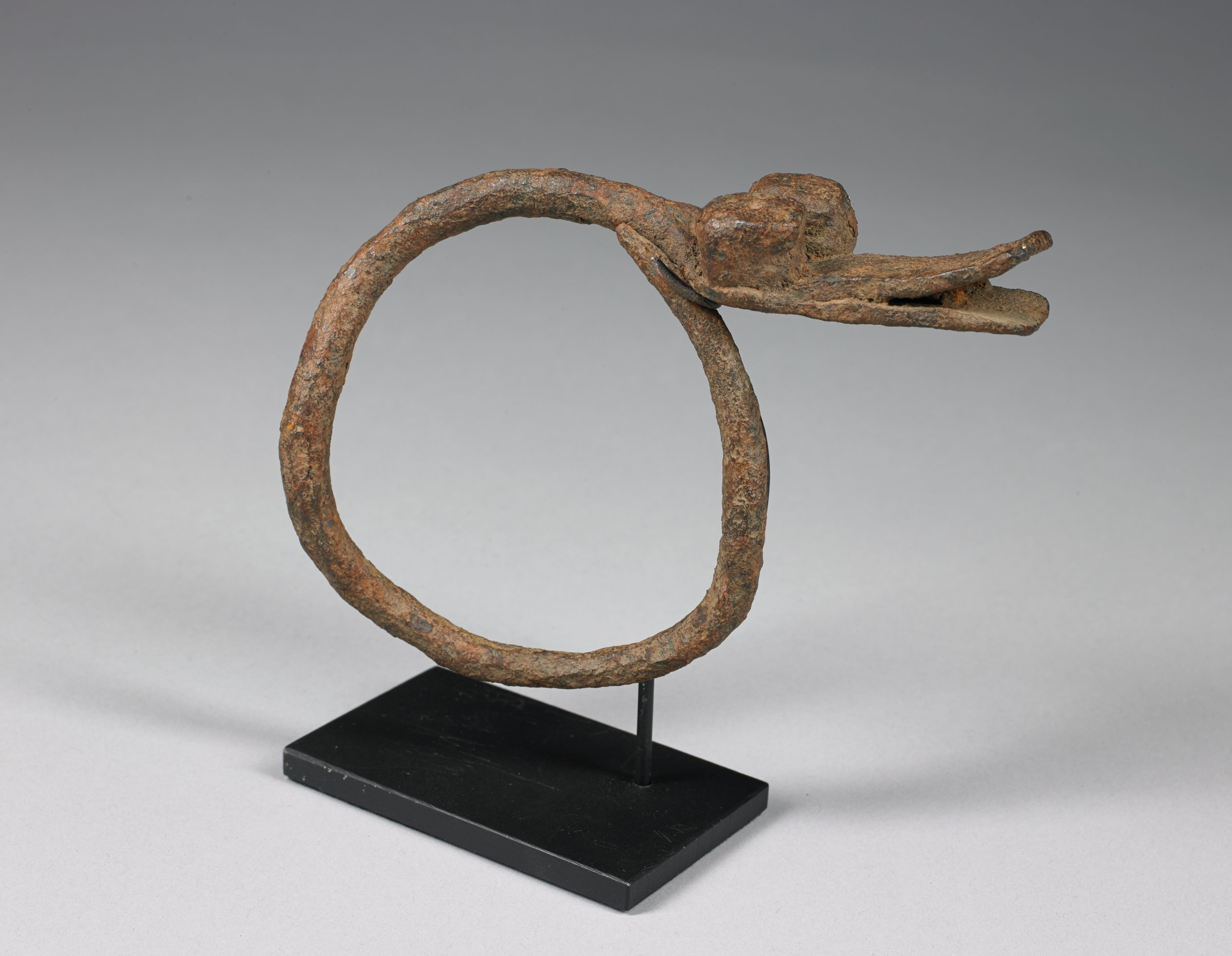 Circular bracelet forms body of serpent; serpent head, with bulbous raised eyes and open mouth, extends beyond circle
