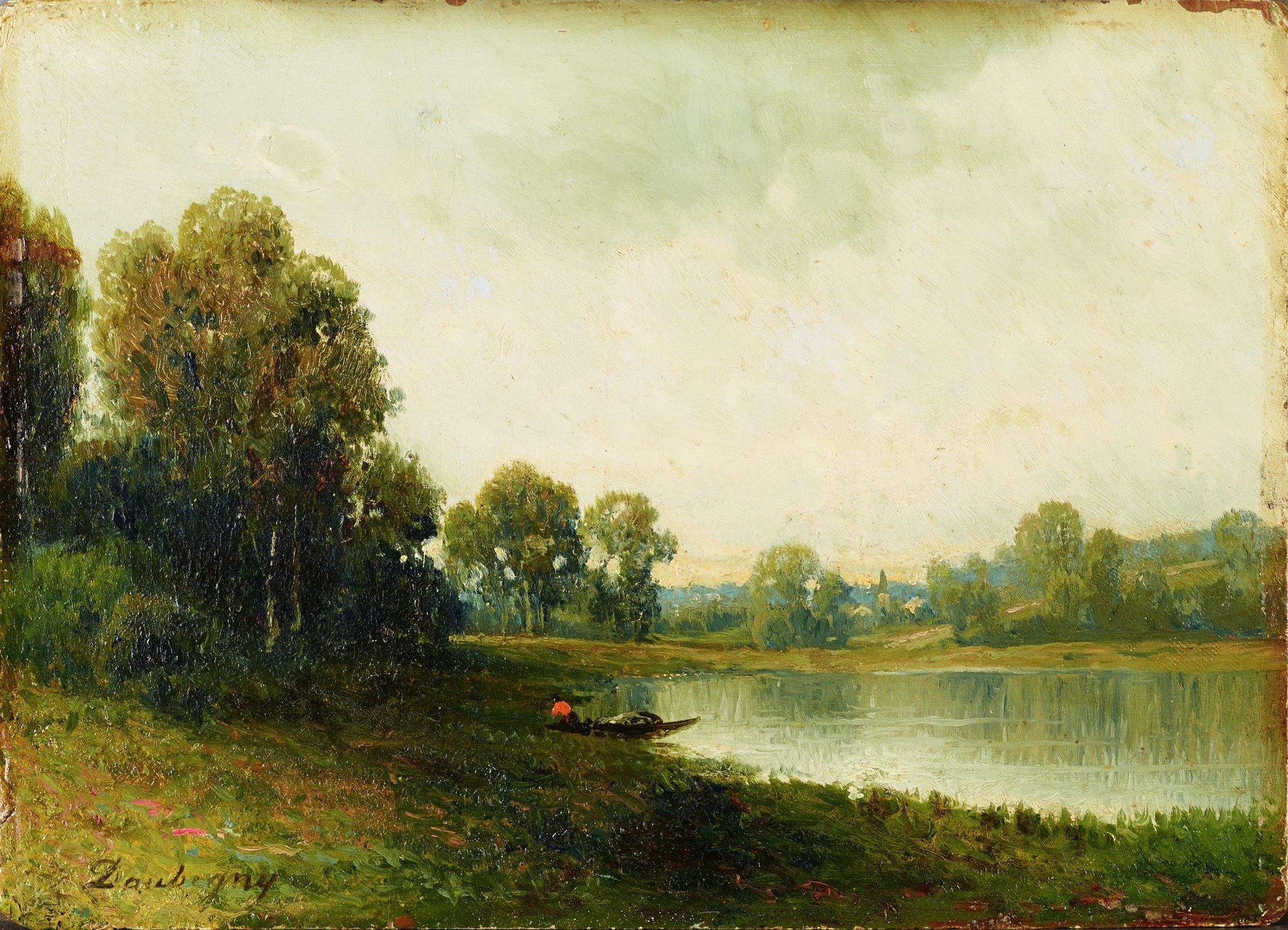Landscape, Charles François Daubigny, oil on panel