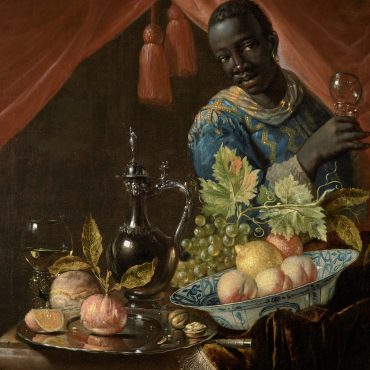 Several objects and fruits are arranged on a table half-covered with a carpet or other type of heavy cloth: a chinese export bowl, a roemer, a silver plate, and a silver jug. The bowl and the plate hold an array of fruits and nuts as well as a piece of bread.  A black figure, richly dressed, stands behind the table on the right hand side of the painting, looks at the viewer, and holds up a second roemer. A red curtain behind the figure is drawn apart with two tassels visible in the opening.