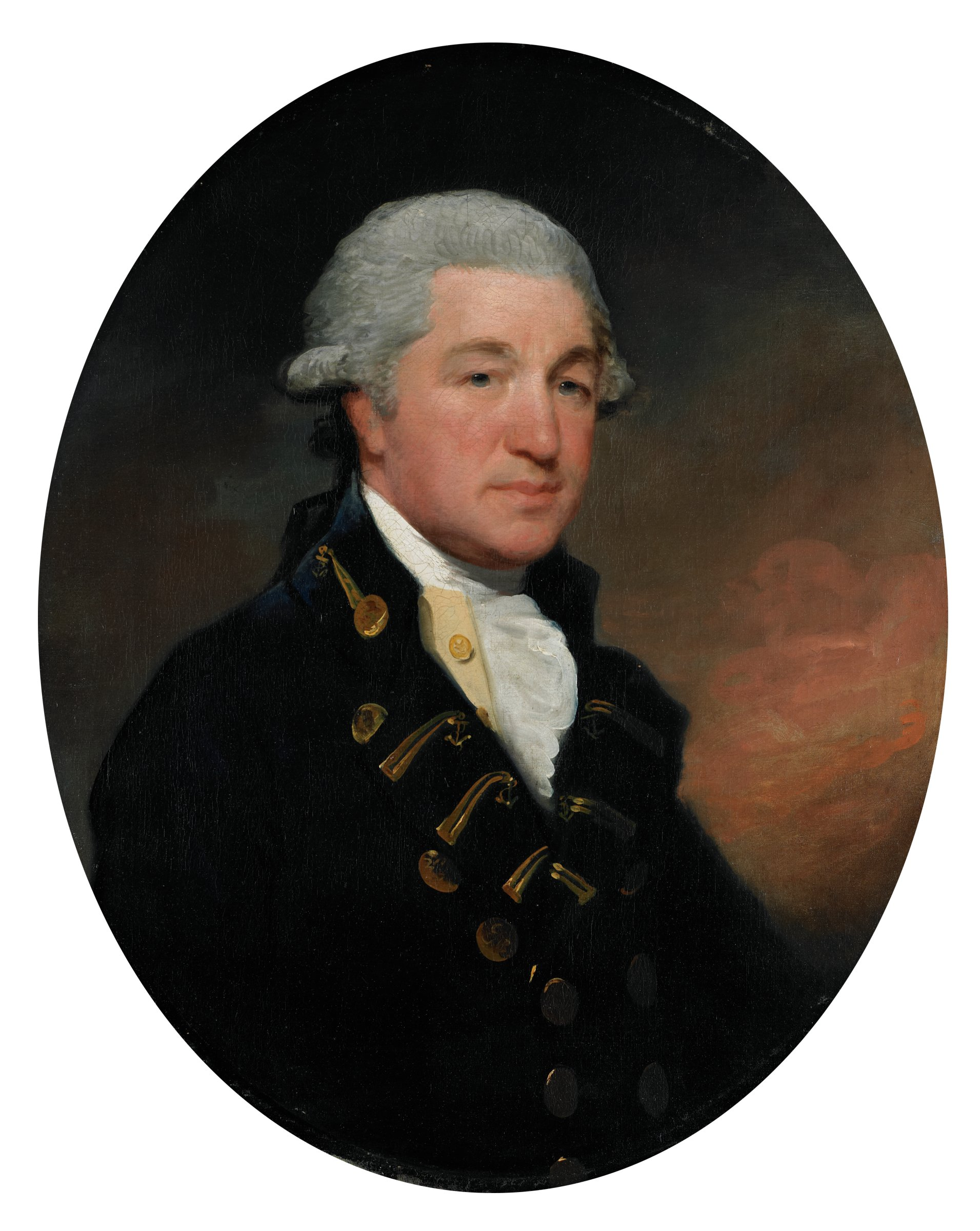 Bust-length portrait of man in white periwig facing right, wearing British naval officer's uniform