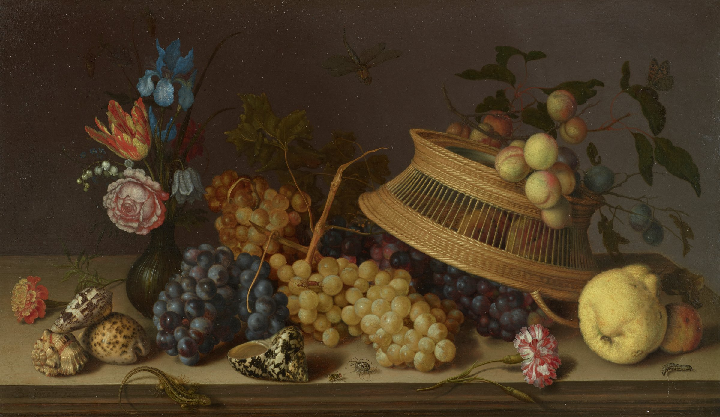 Still Life of Flowers, Fruit, Shells, and Insects, Balthasar van der Ast, oil on panel