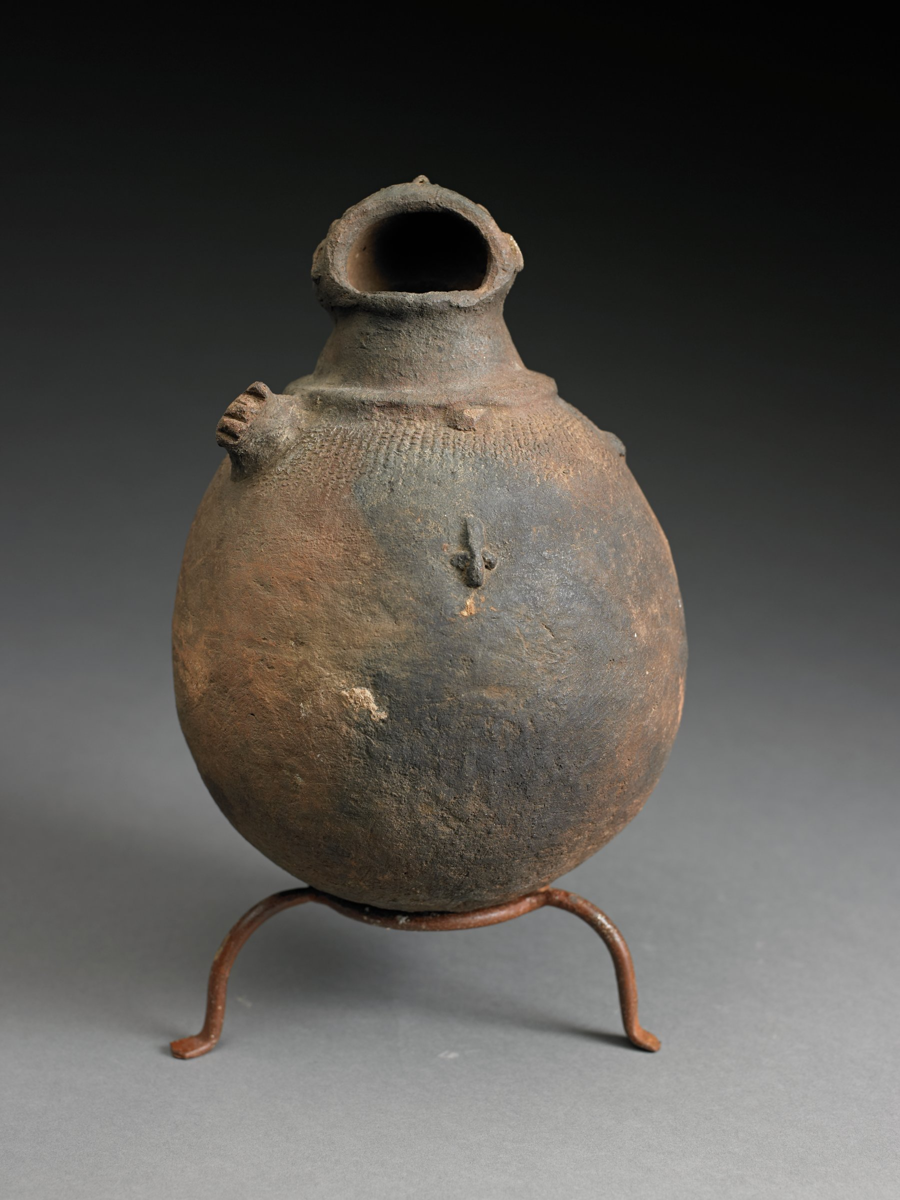Spherical vessel with three short, narrow openings. Shoulder decorated with raised lizard and snake forms.