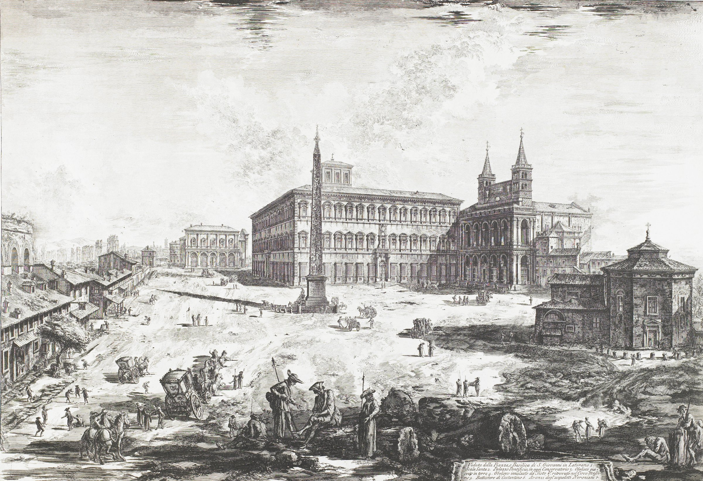 The Piazza and Basilica of San Giovanni in Laterano (side façade), with the Obelisk, Palace and Scala Santa on the left, Giovanni Battista Piranesi, etching on laid paper