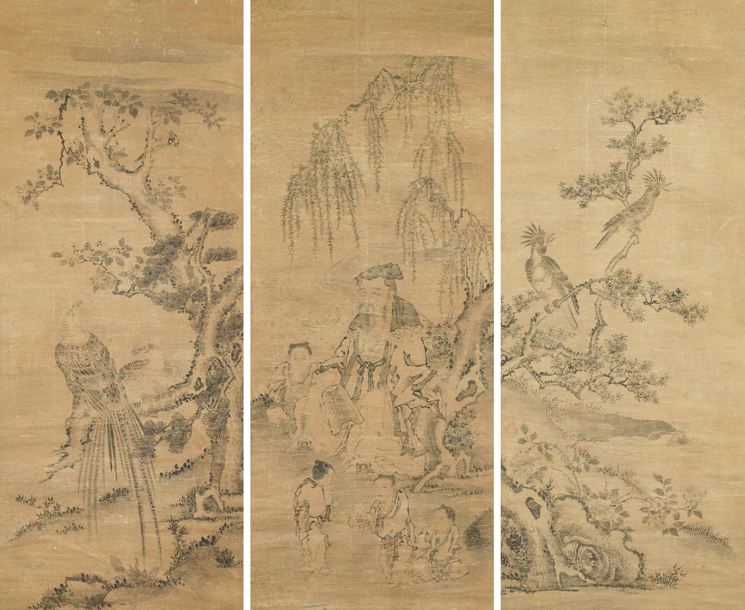 Set of three hanging scrolls. A. Two birds on branches facing right, B. Guo Ziyi surrounded by four children, C. Two birds on branches facing left