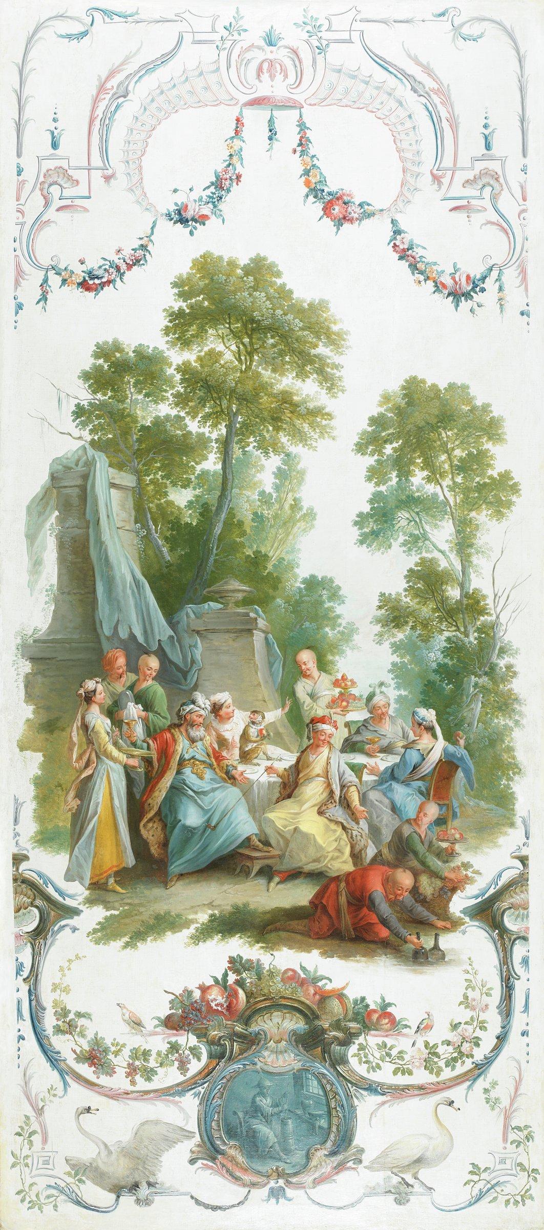 Le repas froid dans le parc (The Picnic in the Park), Christophe Huet, oil on canvas