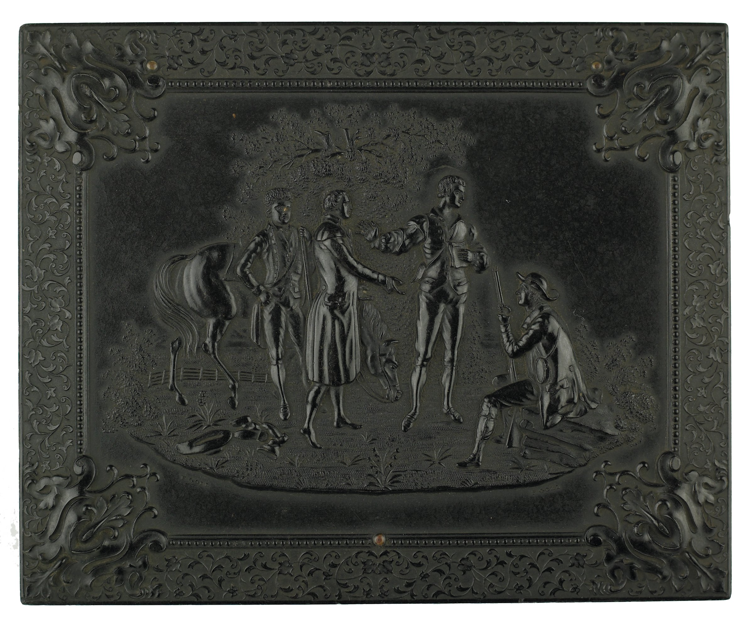 """Pair of portrait ambrotypes (man and woman) in Union case with depiction of """"The Capture of Major André"""" on cover; """"Union"""" case material is a thermoplastic made of wood fiber and shellac."""