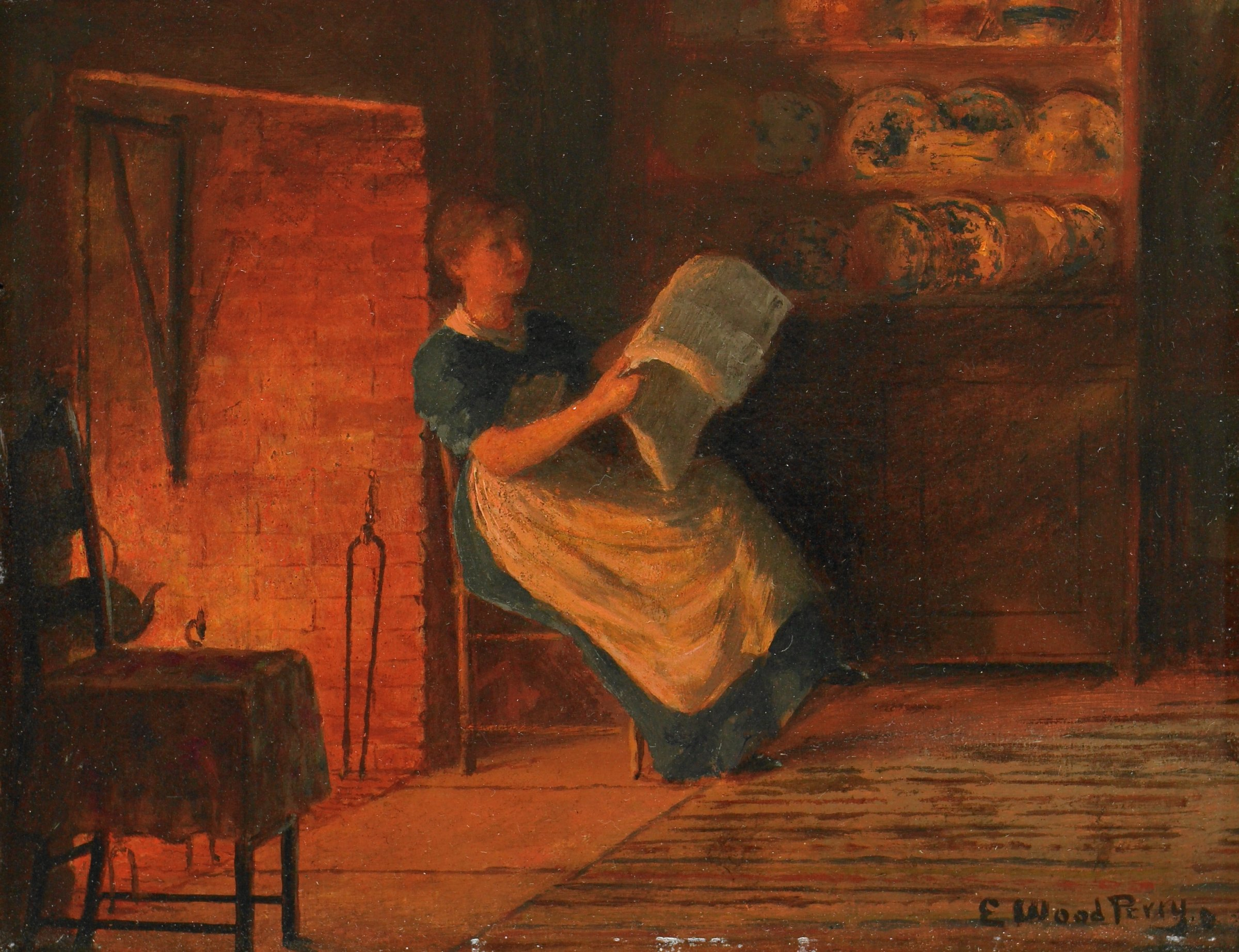 Reading by the Fire, Enoch Wood Perry, oil on canvas