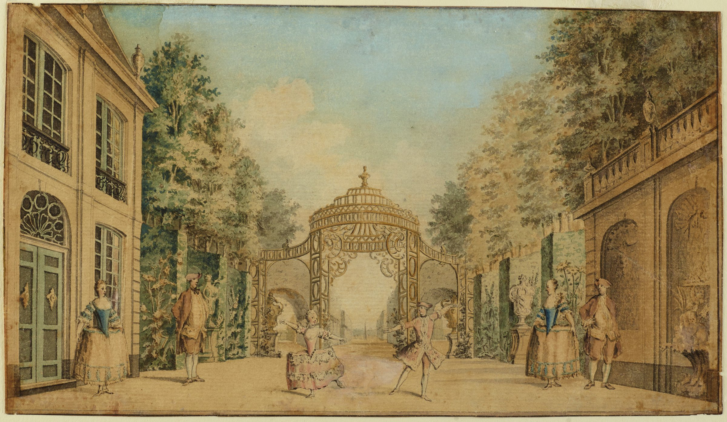 On a stage with a formal garden and buildings, a couple is observed by four other figures while performing a dance in the center.