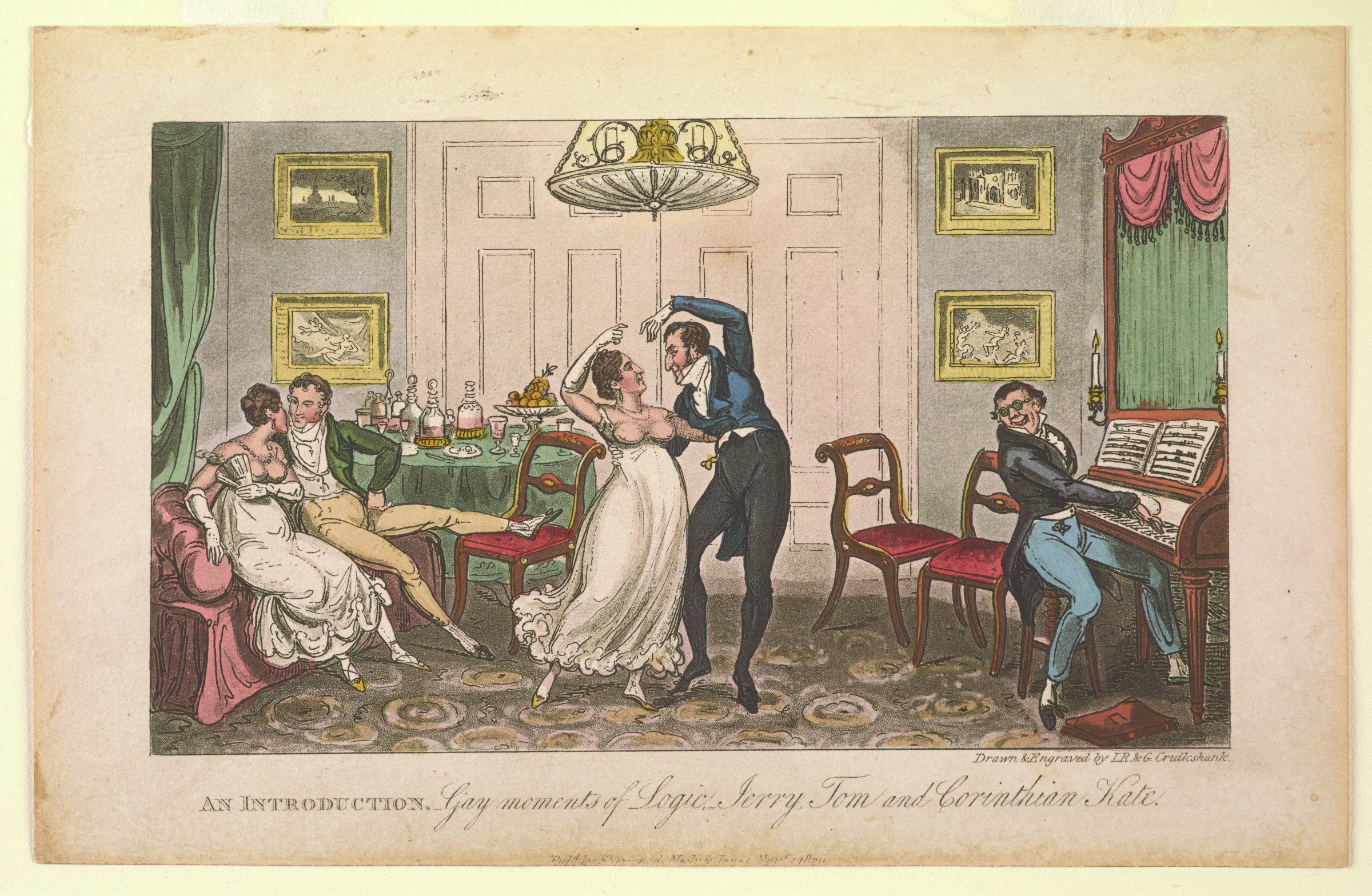 Scene of an interior in which a couple sits on a couch as another couple dances and a man plays a piano.