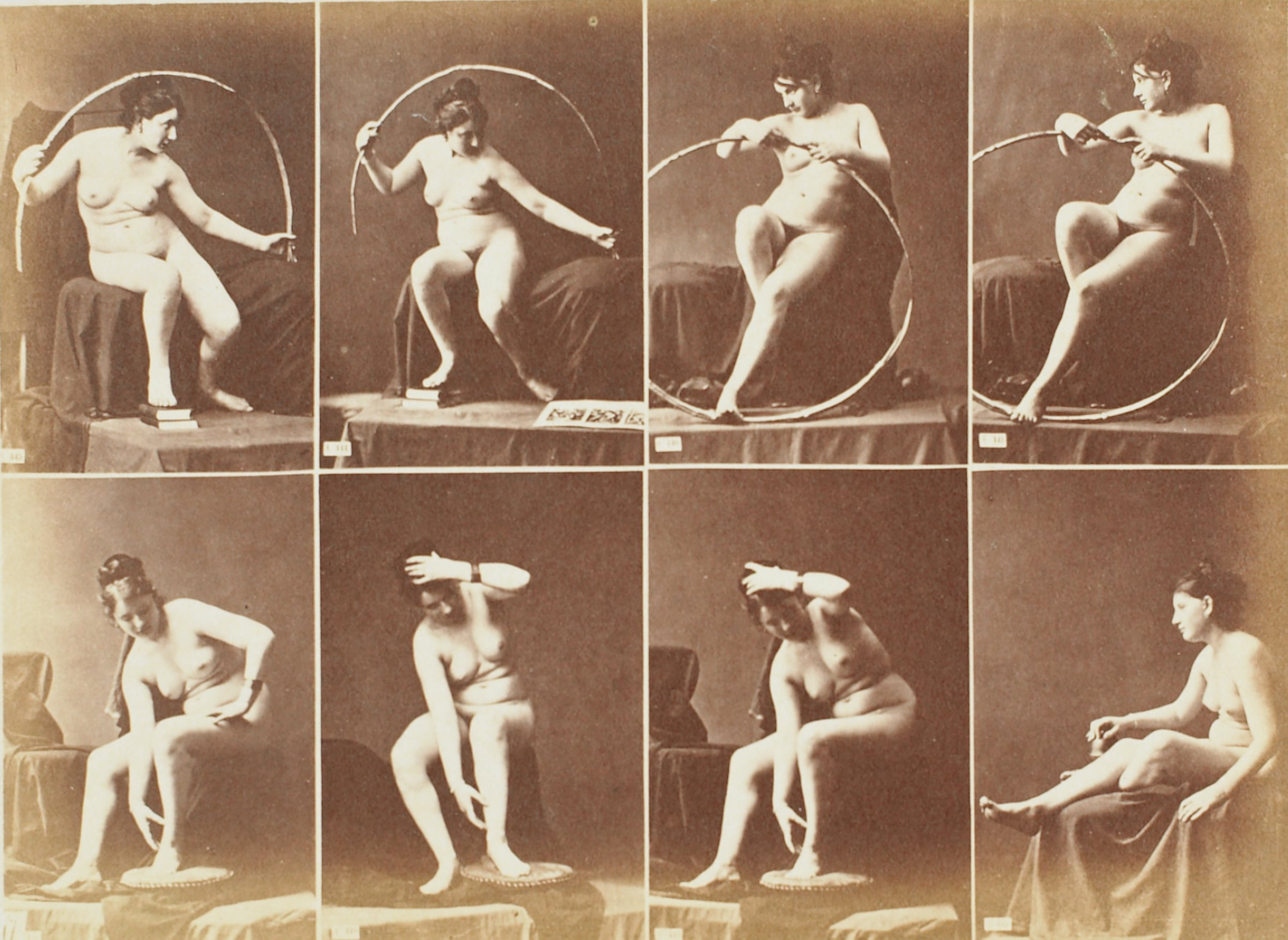 "Albumen print with eight images of a nude woman in varied poses mounted onto blue paper with printed text ""A.CALAVAS Éditeur, — 68, Rue de Lafayette, PARIS."" Paper is mounted to 2-ply non-acidic mat board. Appears to have been removed from a book binding."