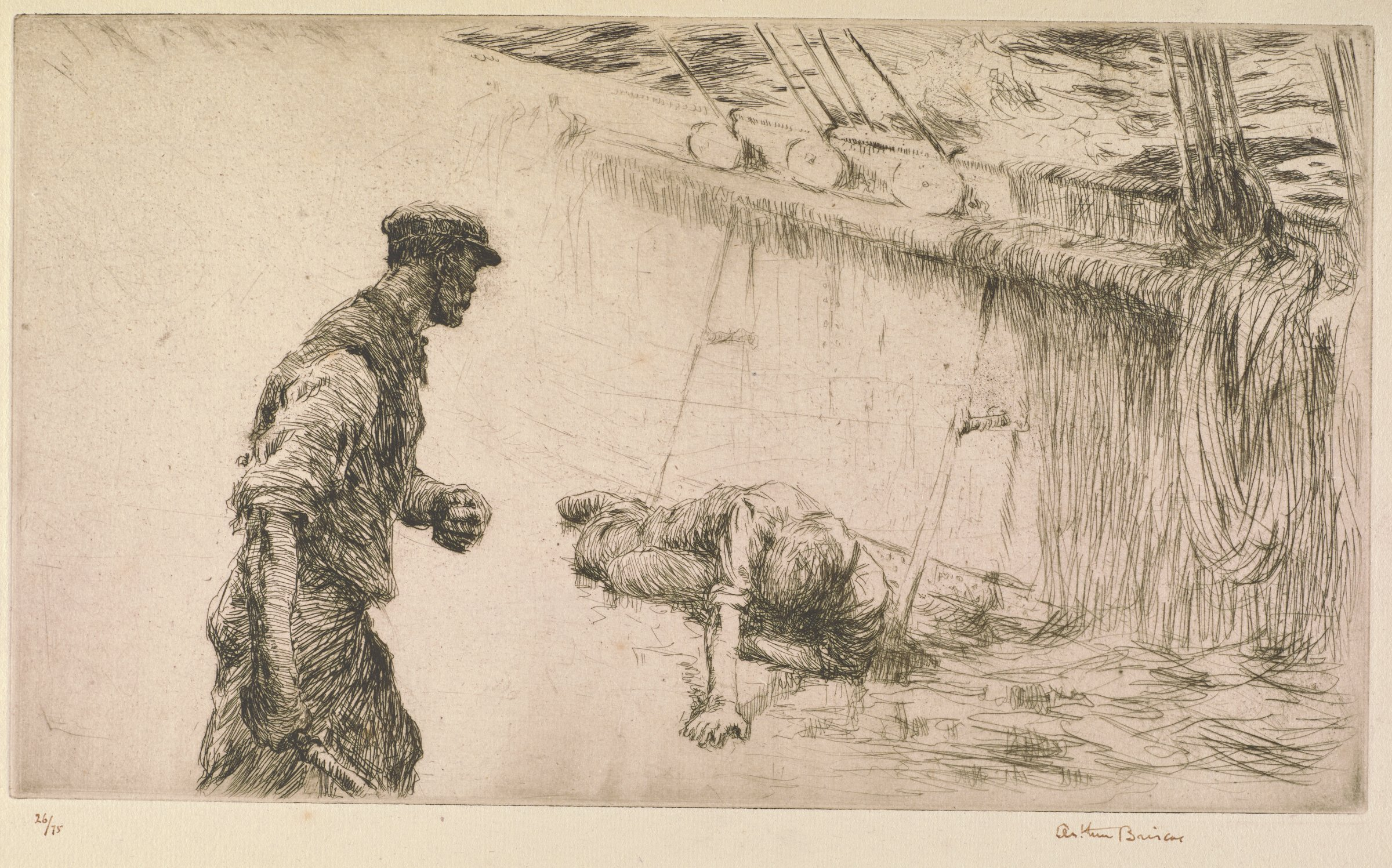 Two sailors engage in a fight. The figure on the right lies holding his stomach. The figure on the left raises his left fist and holds an object in his right hand. The figure on the right lies in front of a background created by the inner side of a ship and ocean water. The figure on the left is framed by void space.