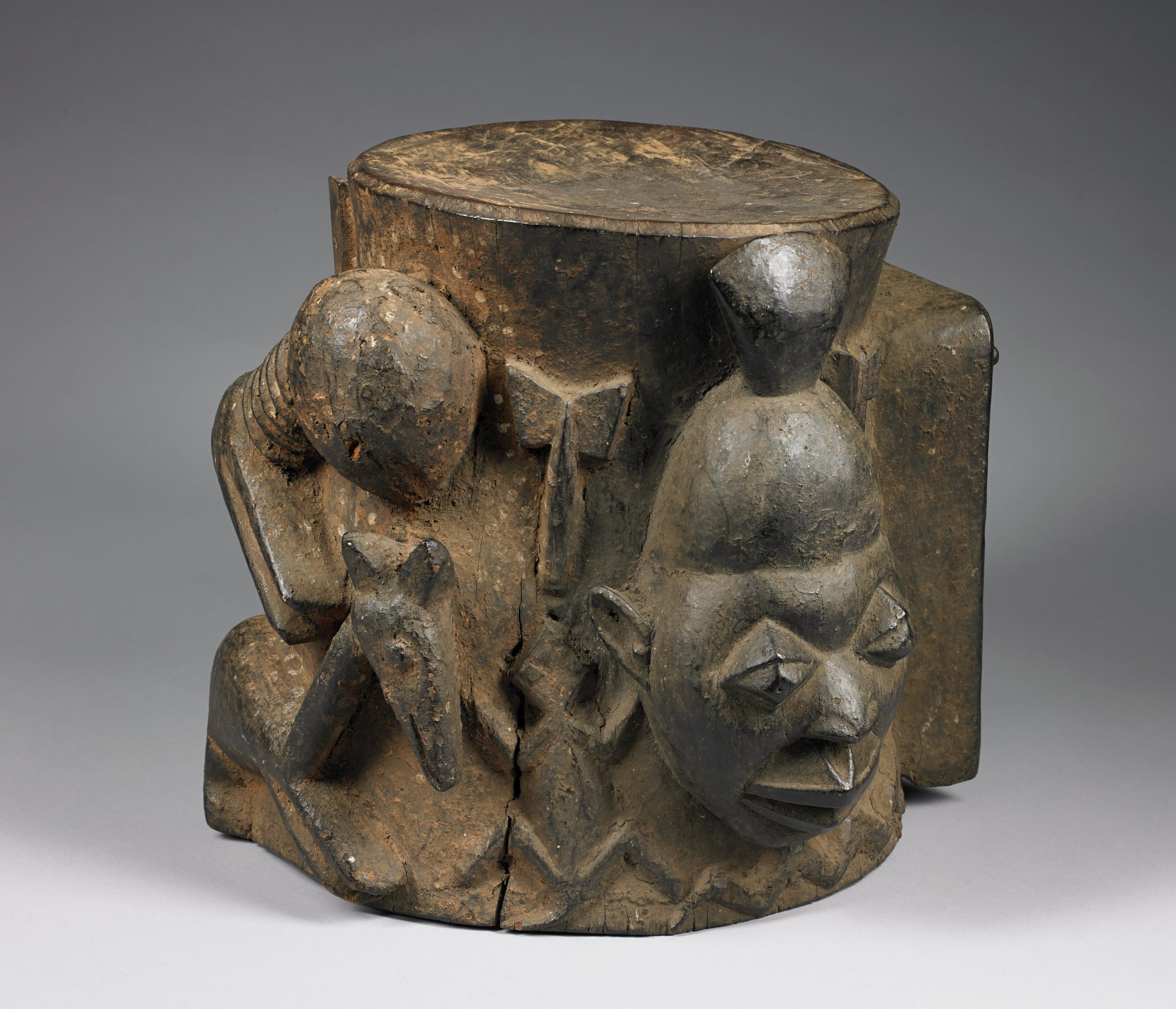 Shrine Pedestal for Shango (ode Shango), Yoruba people, Nigeria, African, wood and pigment